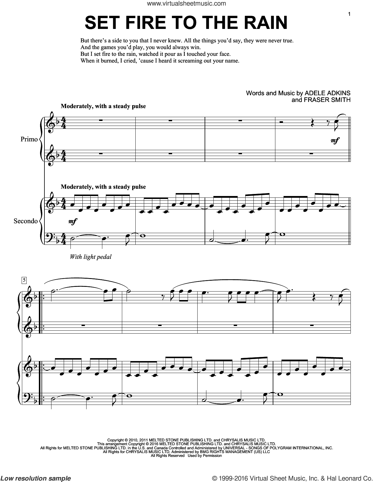 Set Fire To The Rain sheet music for piano four hands by Adele, Eric Baumgartner, Adele Adkins and Fraser T. Smith, intermediate skill level