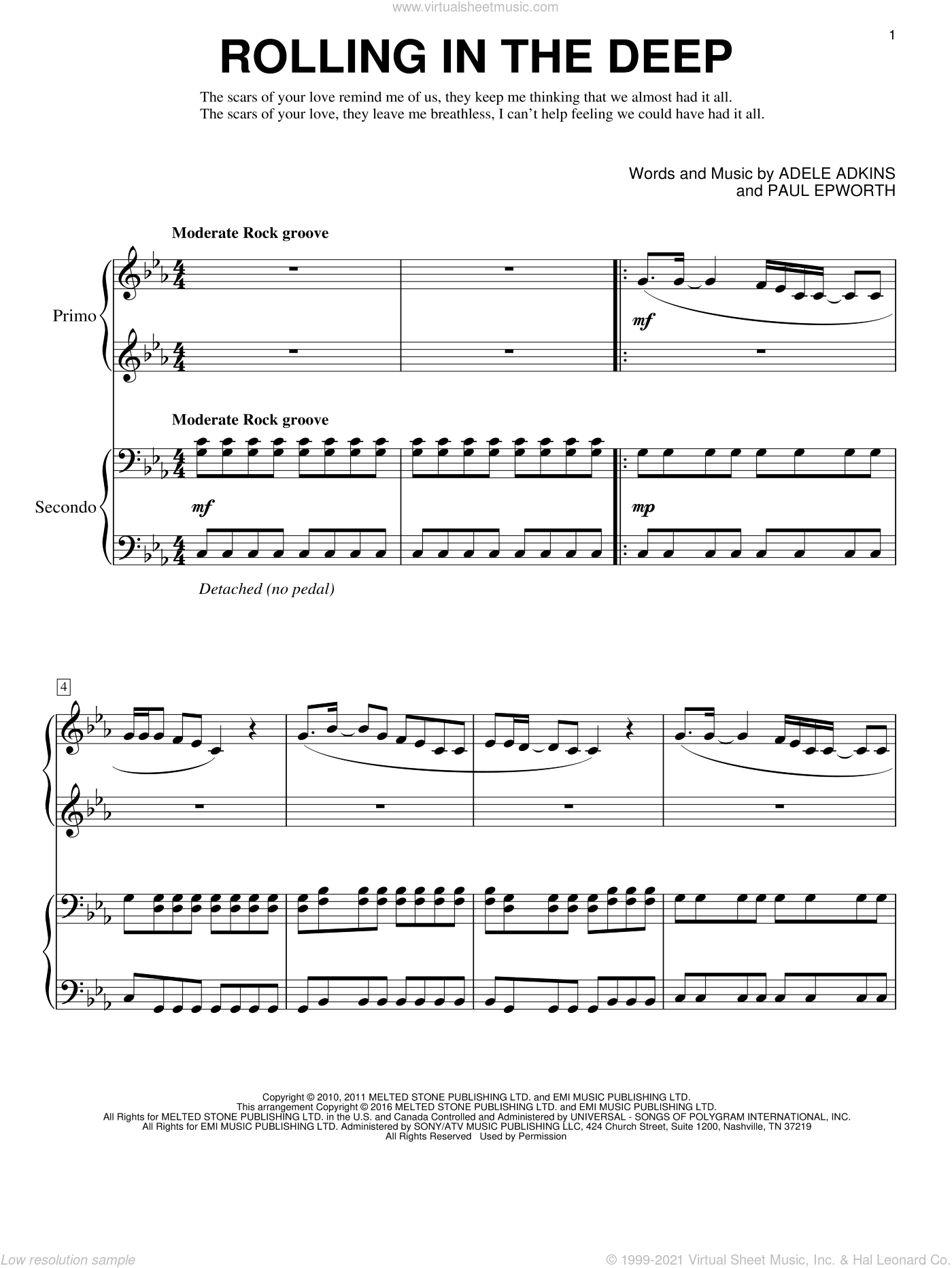 Rolling In The Deep sheet music for piano four hands (duets) by Adele, Eric Baumgartner and Paul Epworth. Score Image Preview.