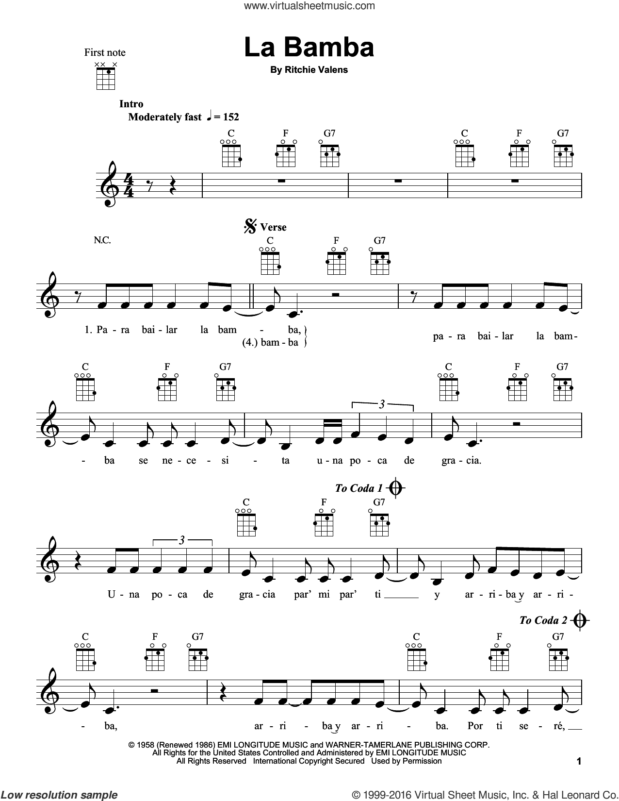 La Bamba sheet music for ukulele by Ritchie Valens and Los Lobos, intermediate skill level