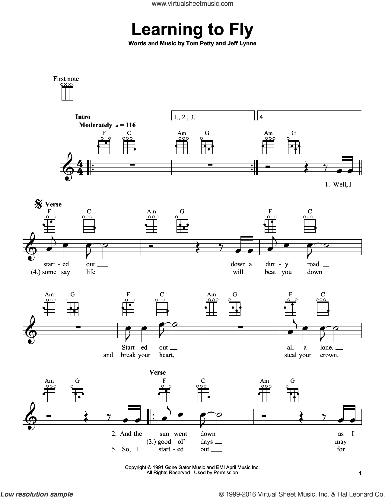 Learning To Fly sheet music for ukulele by Jeff Lynne and Tom Petty. Score Image Preview.