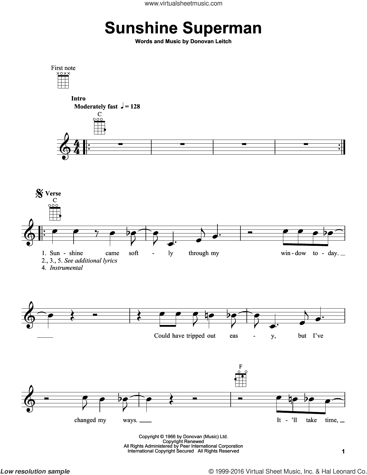 Sunshine Superman sheet music for ukulele by Donovan Leitch and Walter Donovan. Score Image Preview.
