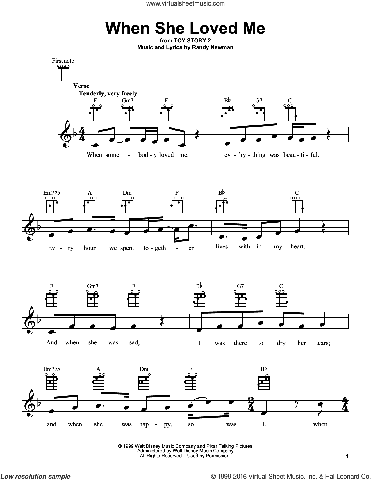 When She Loved Me sheet music for ukulele by Randy Newman and Sarah McLachlan. Score Image Preview.