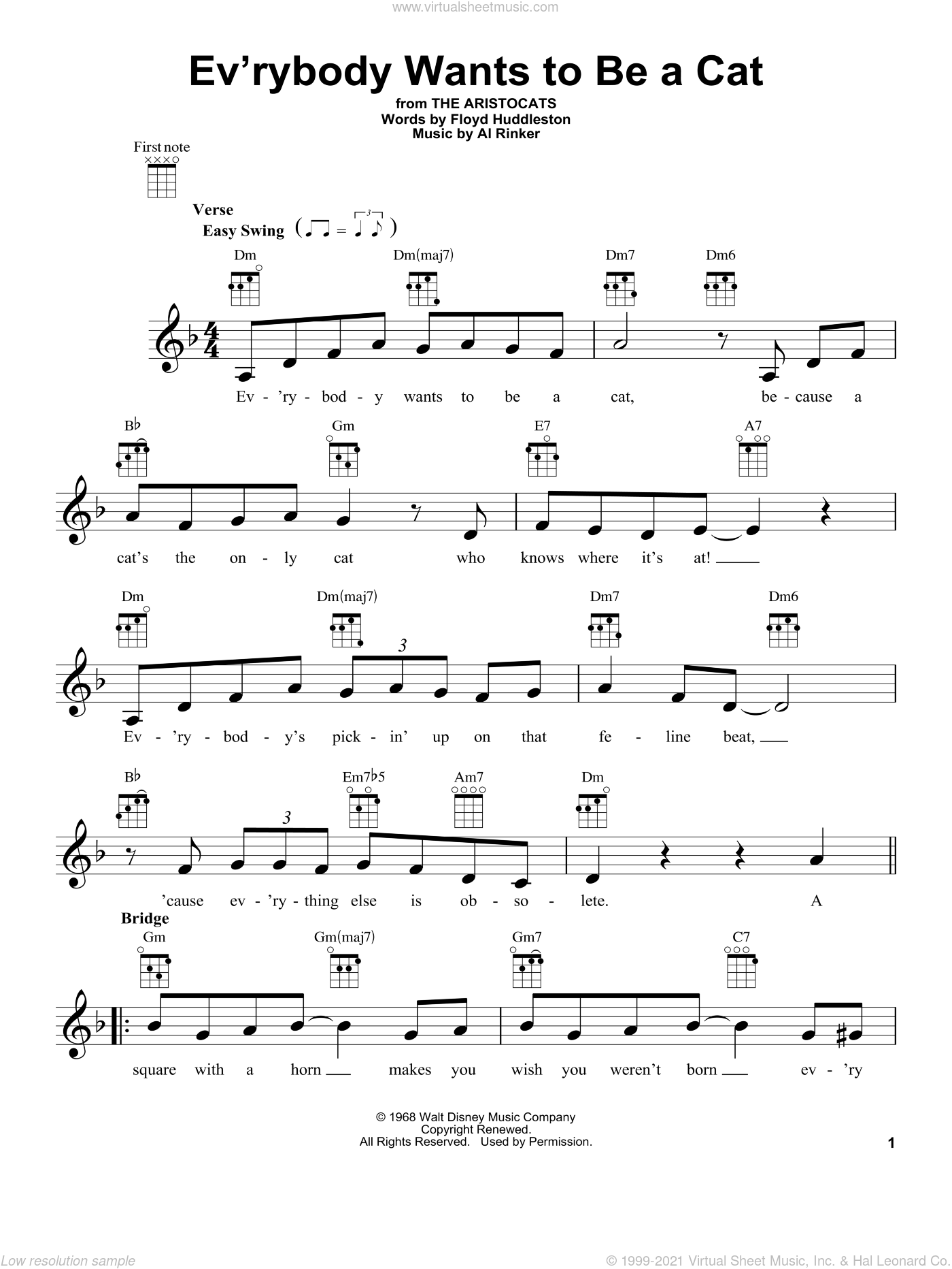Ev'rybody Wants To Be A Cat sheet music for ukulele by Floyd Huddleston and Al Rinker. Score Image Preview.