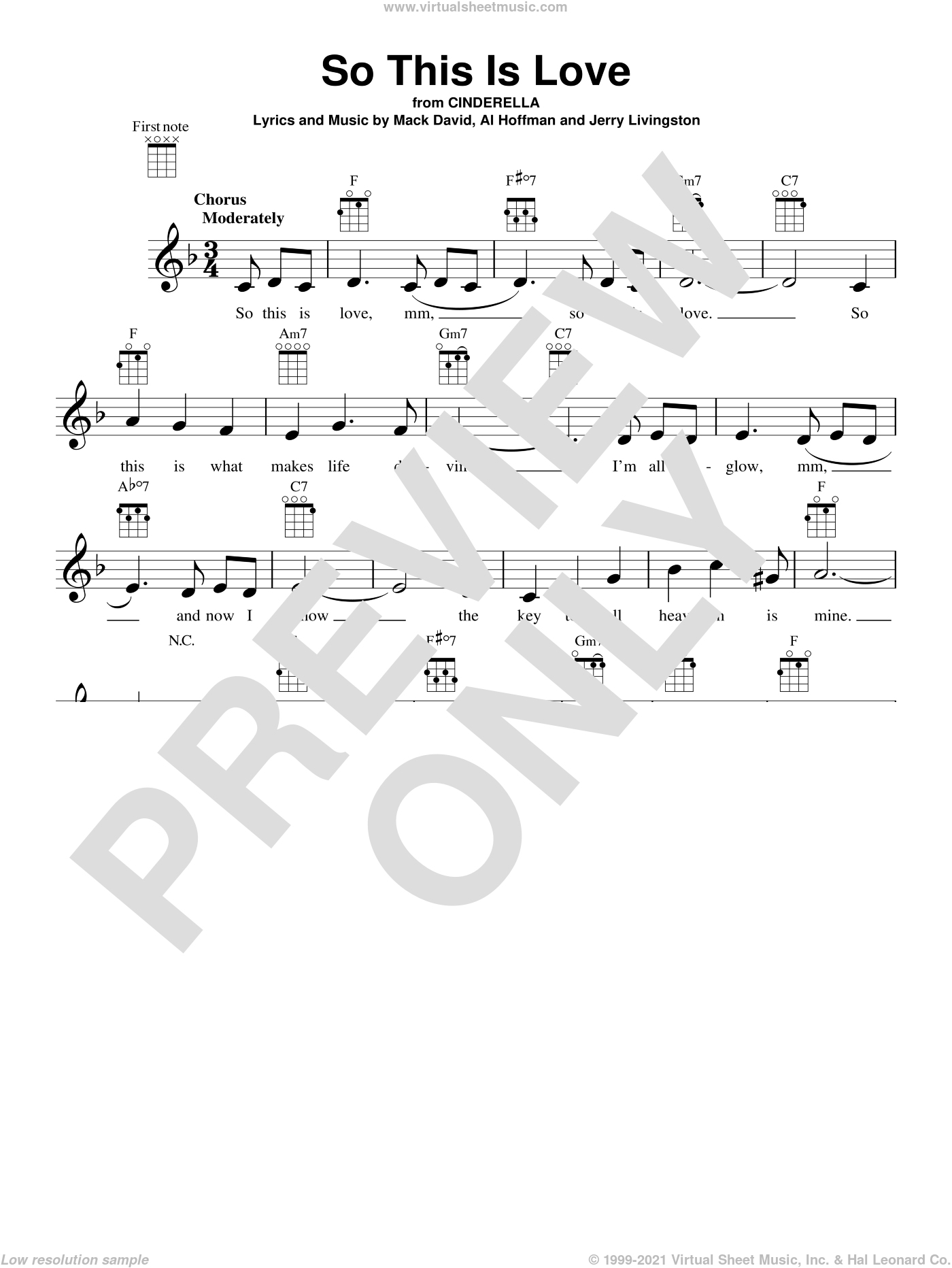 So This Is Love sheet music for ukulele by Al Hoffman, James Ingram, Jerry Livingston, Mack David and Mack David, Al Hoffman and Jerry Livingston, intermediate