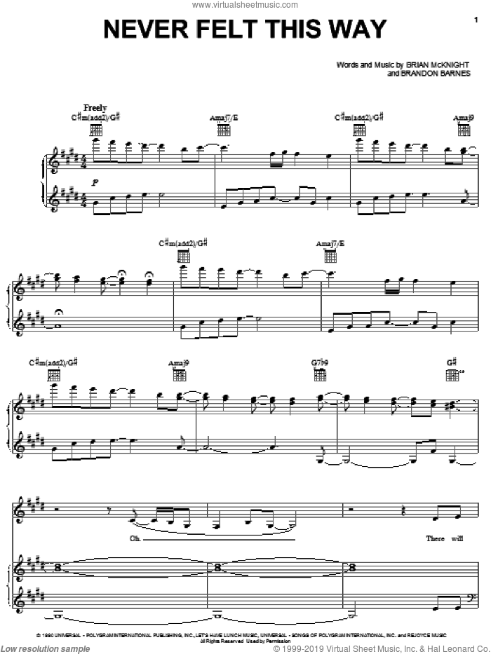 Never Felt This Way sheet music for voice, piano or guitar by Alicia Keys and Brian McKnight, intermediate. Score Image Preview.