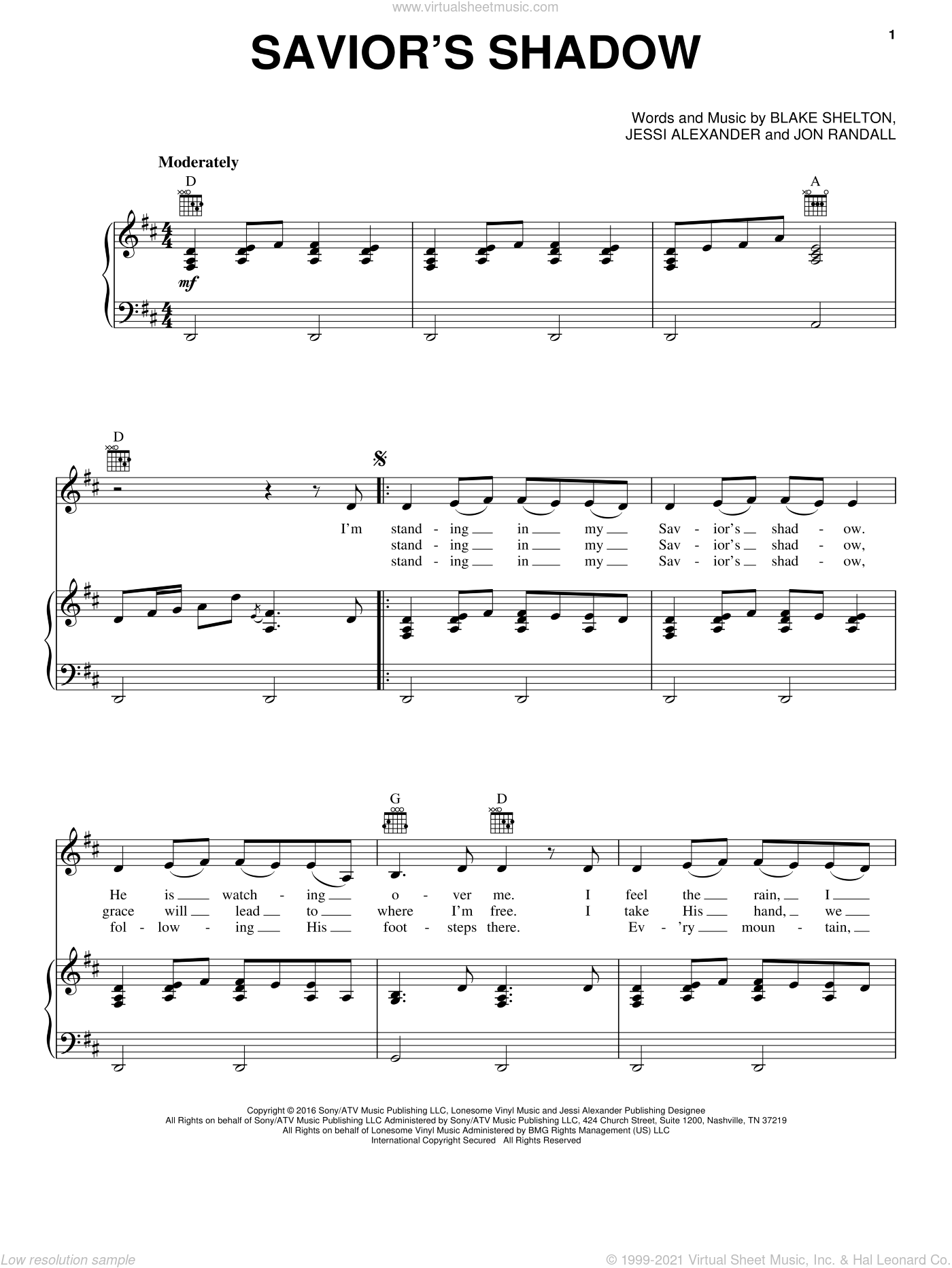 Savior's Shadow sheet music for voice, piano or guitar by Blake Shelton, Jessi Alexander and Jon Randall, intermediate. Score Image Preview.