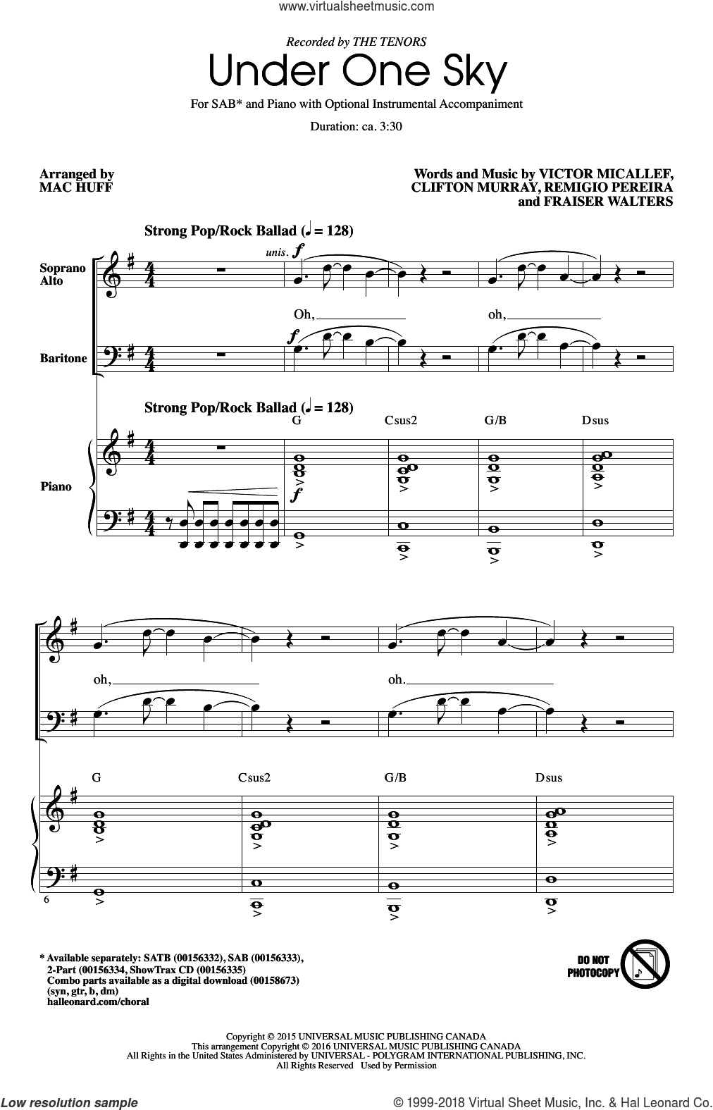 Under One Sky sheet music for choir and piano (SAB) by Victor Micallef and Mac Huff. Score Image Preview.