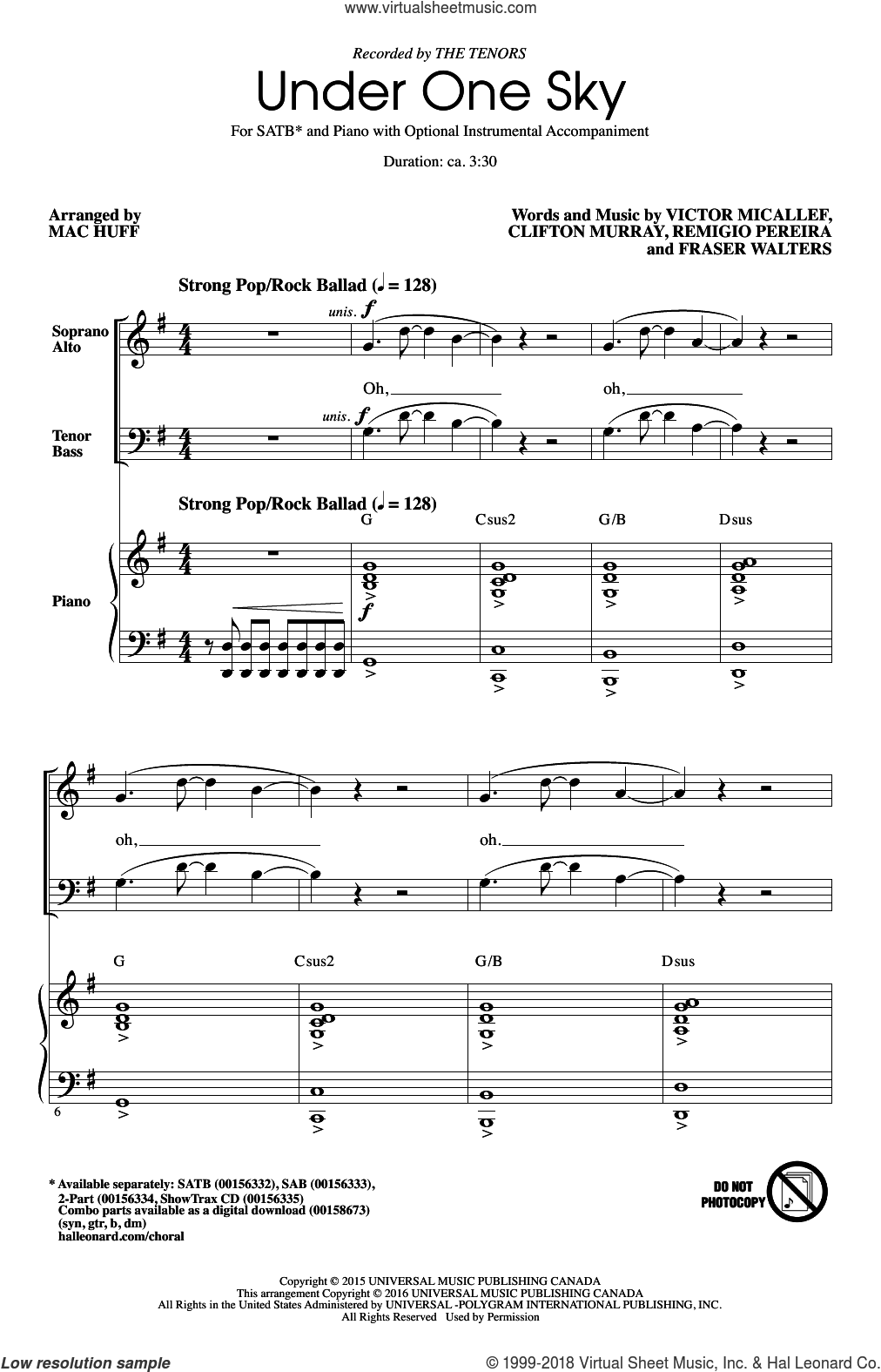 Under One Sky sheet music for choir (SATB: soprano, alto, tenor, bass) by Mac Huff, Clifton Murray, Fraser Walters, Remigio Pereira, The Tenors and Victor Micallef, intermediate skill level