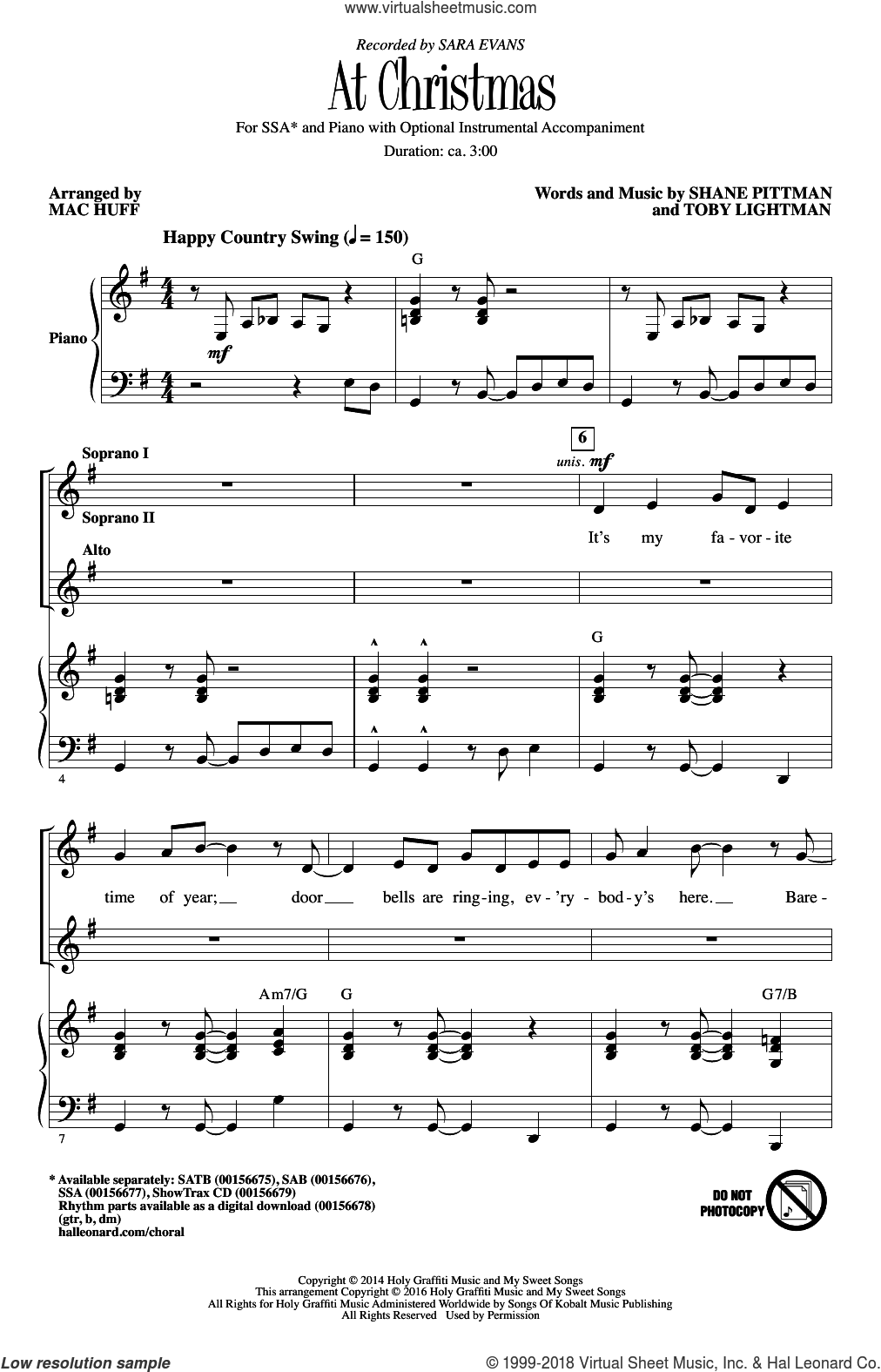 At Christmas sheet music for choir (soprano voice, alto voice, choir) by Sara Evans and Mac Huff. Score Image Preview.