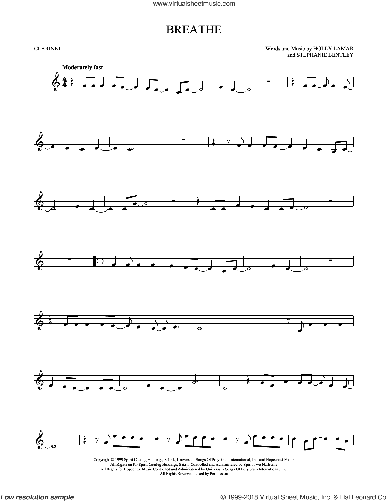 Breathe sheet music for clarinet solo by Faith Hill, Holly Lamar and Stephanie Bentley, intermediate skill level