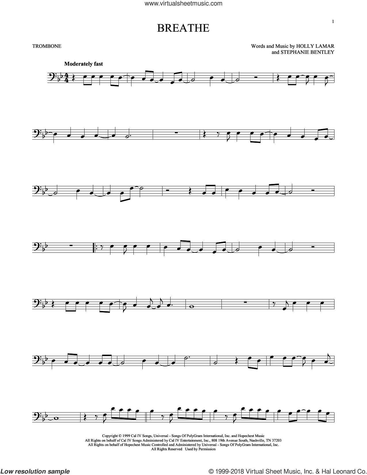 Breathe sheet music for trombone solo by Faith Hill, Holly Lamar and Stephanie Bentley, intermediate skill level