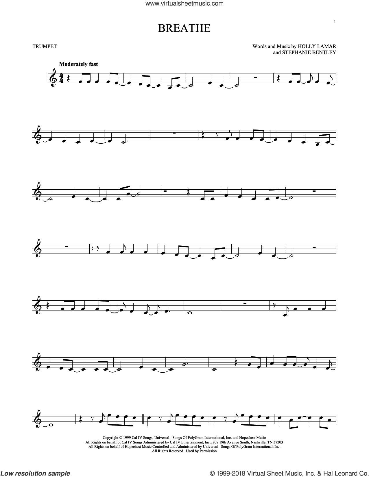 Breathe sheet music for trumpet solo by Faith Hill, Holly Lamar and Stephanie Bentley, intermediate skill level