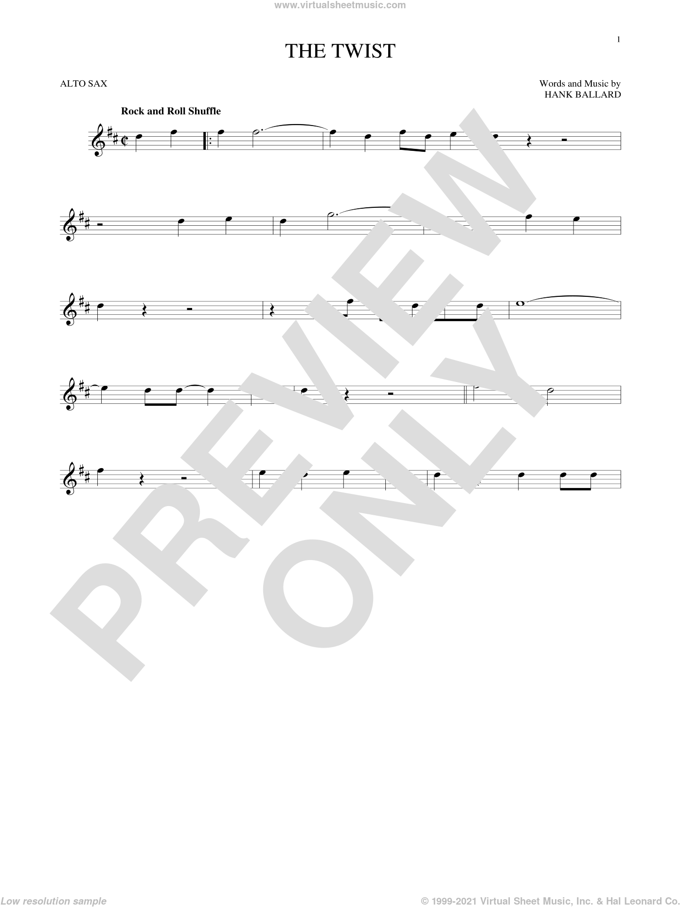 The Twist sheet music for alto saxophone solo by Chubby Checker and Hank Ballard, intermediate skill level
