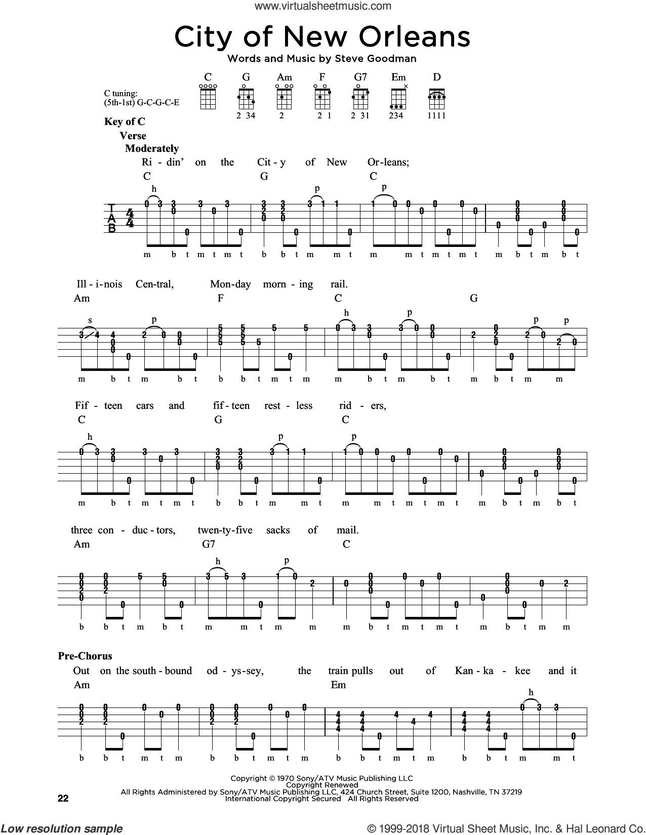 City Of New Orleans sheet music for banjo solo by Arlo Guthrie, Willie Nelson and Steve Goodman, intermediate. Score Image Preview.
