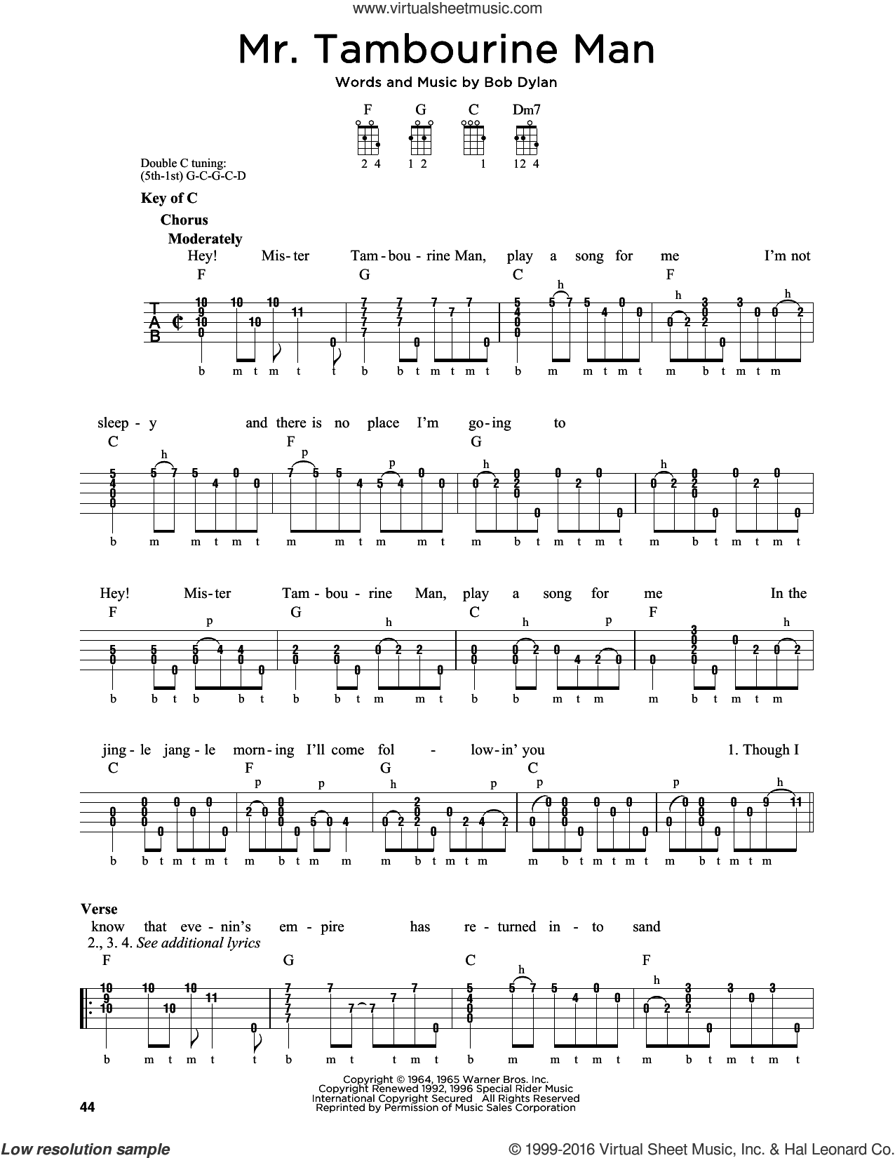 Mr. Tambourine Man sheet music for banjo solo by Bob Dylan, intermediate. Score Image Preview.