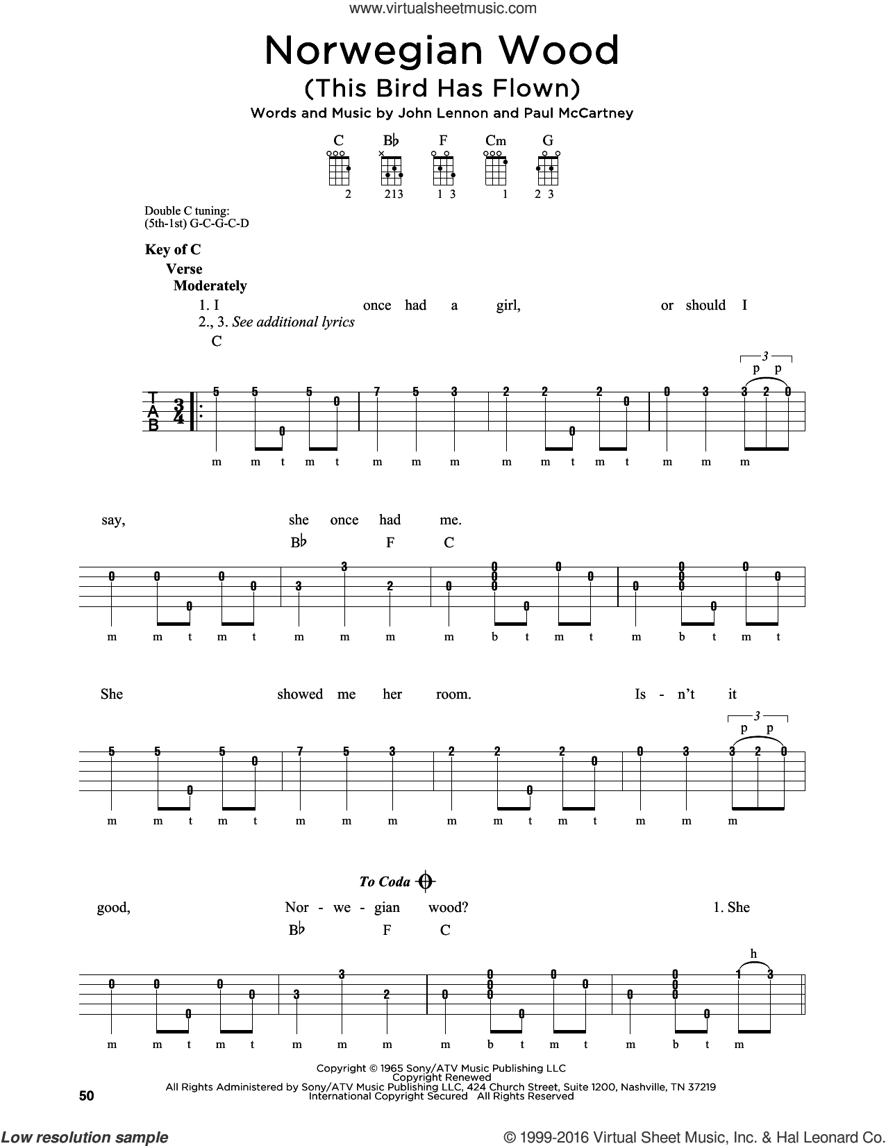 Norwegian Wood (This Bird Has Flown) sheet music for banjo solo by Paul McCartney, The Beatles and John Lennon. Score Image Preview.