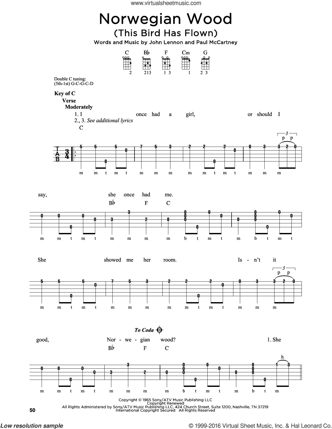 Norwegian Wood (This Bird Has Flown) sheet music for banjo solo by The Beatles, John Lennon and Paul McCartney, intermediate skill level