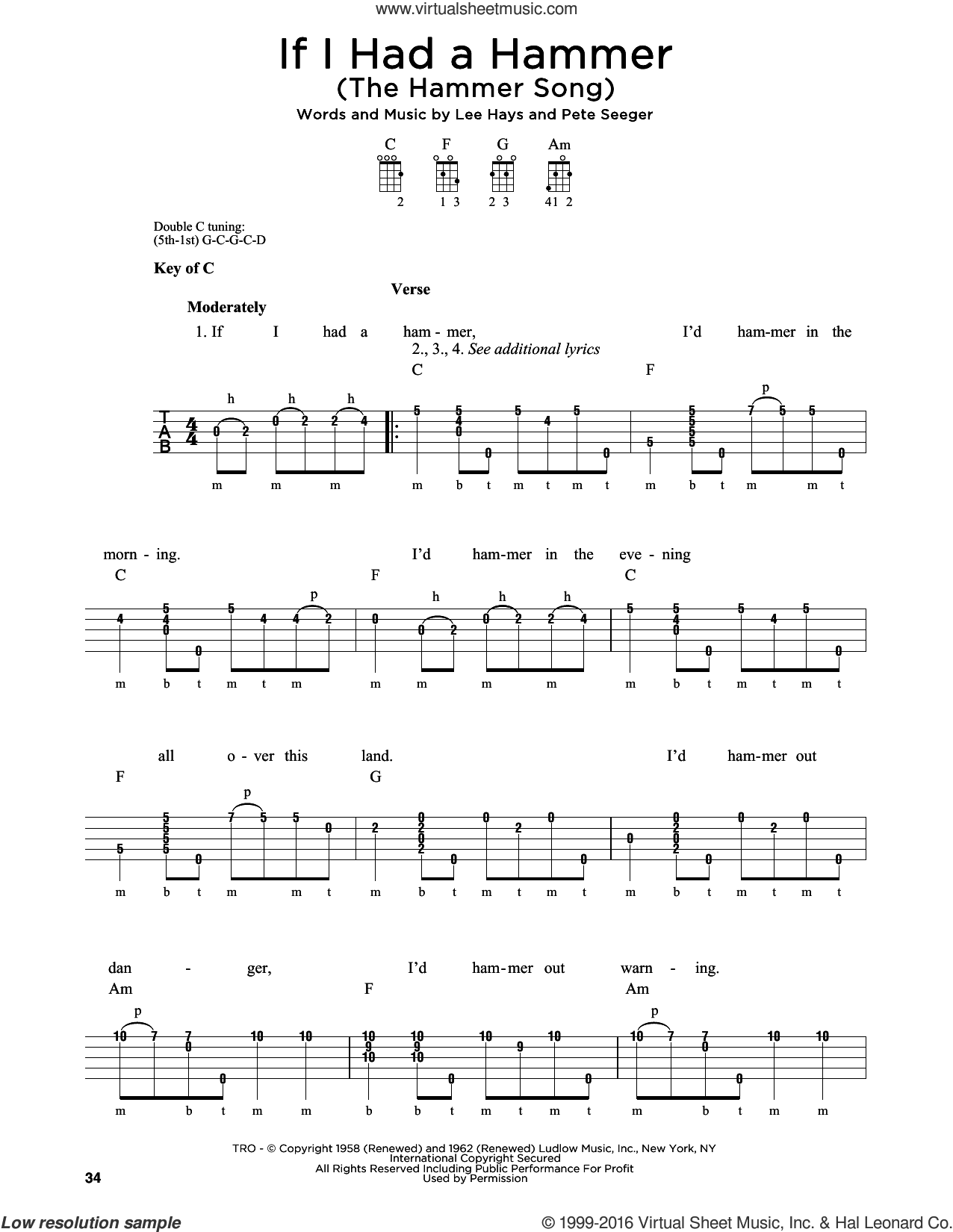 If I Had A Hammer (The Hammer Song) sheet music for banjo solo by Pete Seeger, Peter, Paul & Mary and Lee Hays. Score Image Preview.