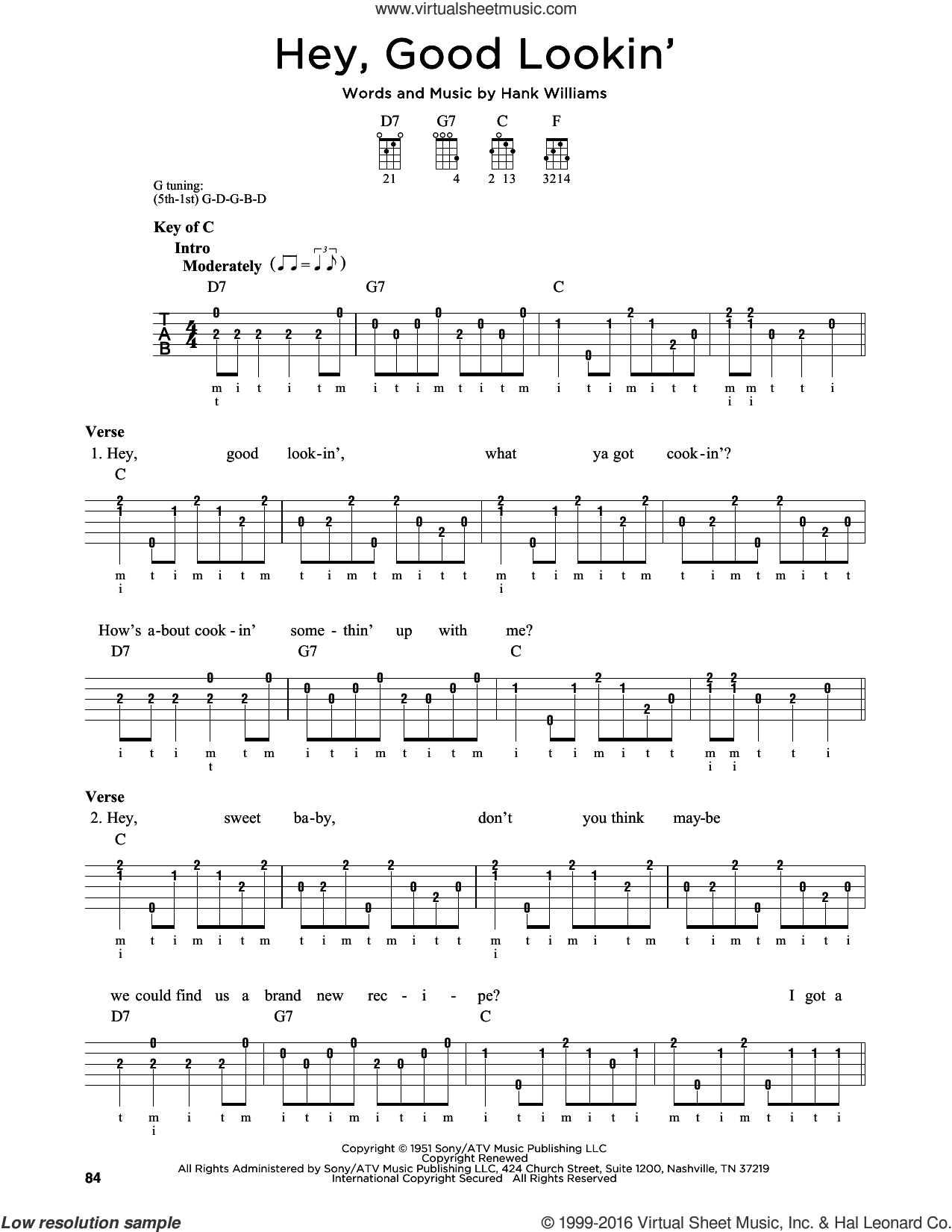 Hey, Good Lookin' sheet music for banjo solo by Hank Williams. Score Image Preview.
