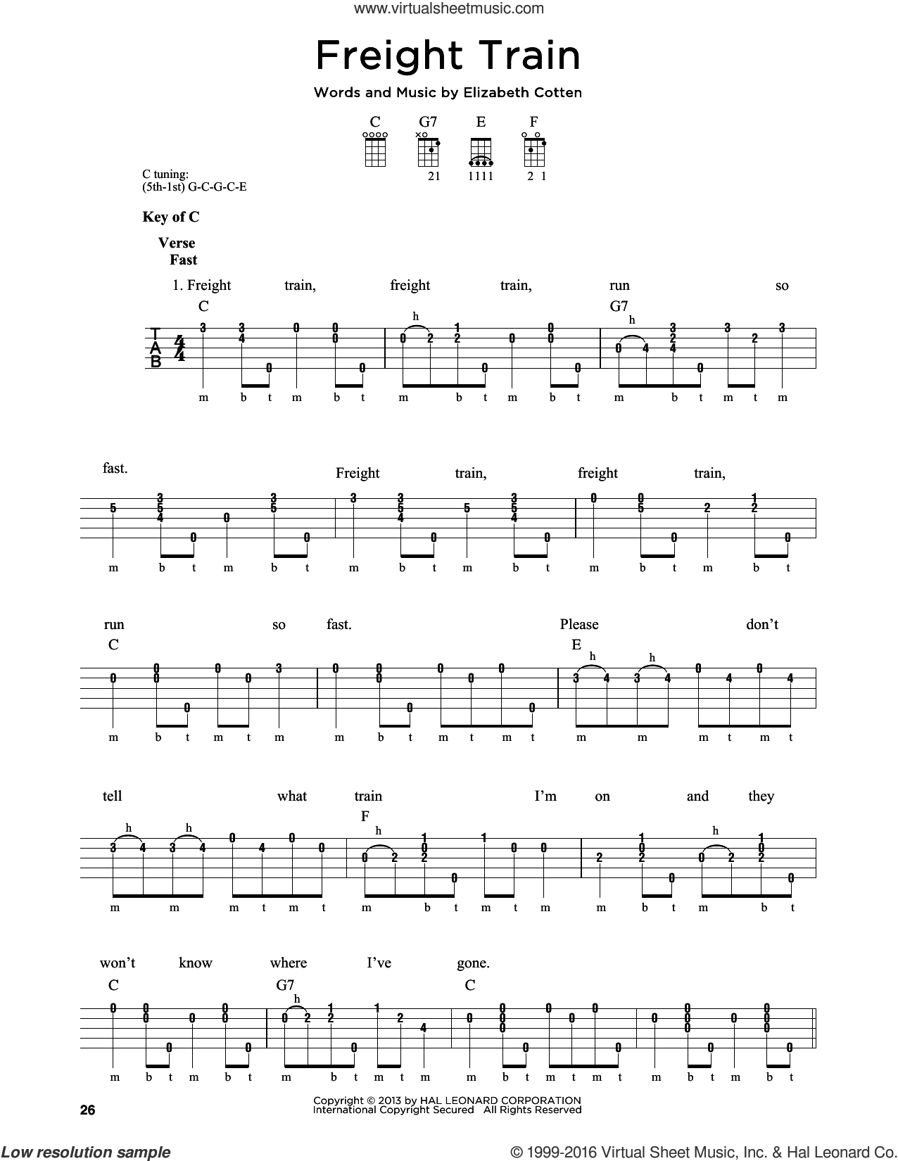 Freight Train sheet music for banjo solo by Elizabeth Cotten. Score Image Preview.