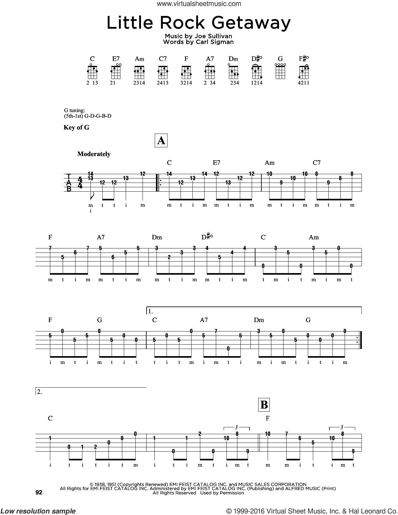 Little Rock Getaway sheet music for banjo solo by Joe Sullivan and Carl Sigman, intermediate skill level