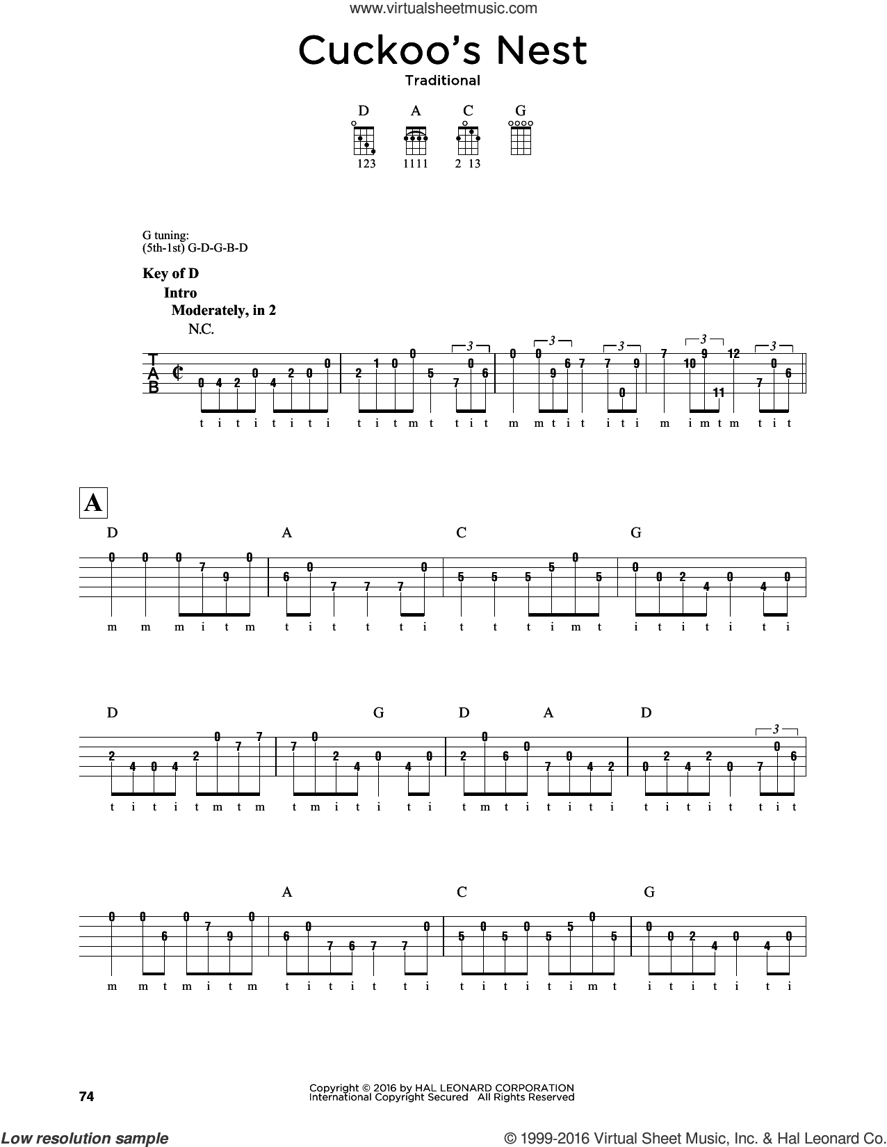 Cuckoo's Nest sheet music for banjo solo. Score Image Preview.
