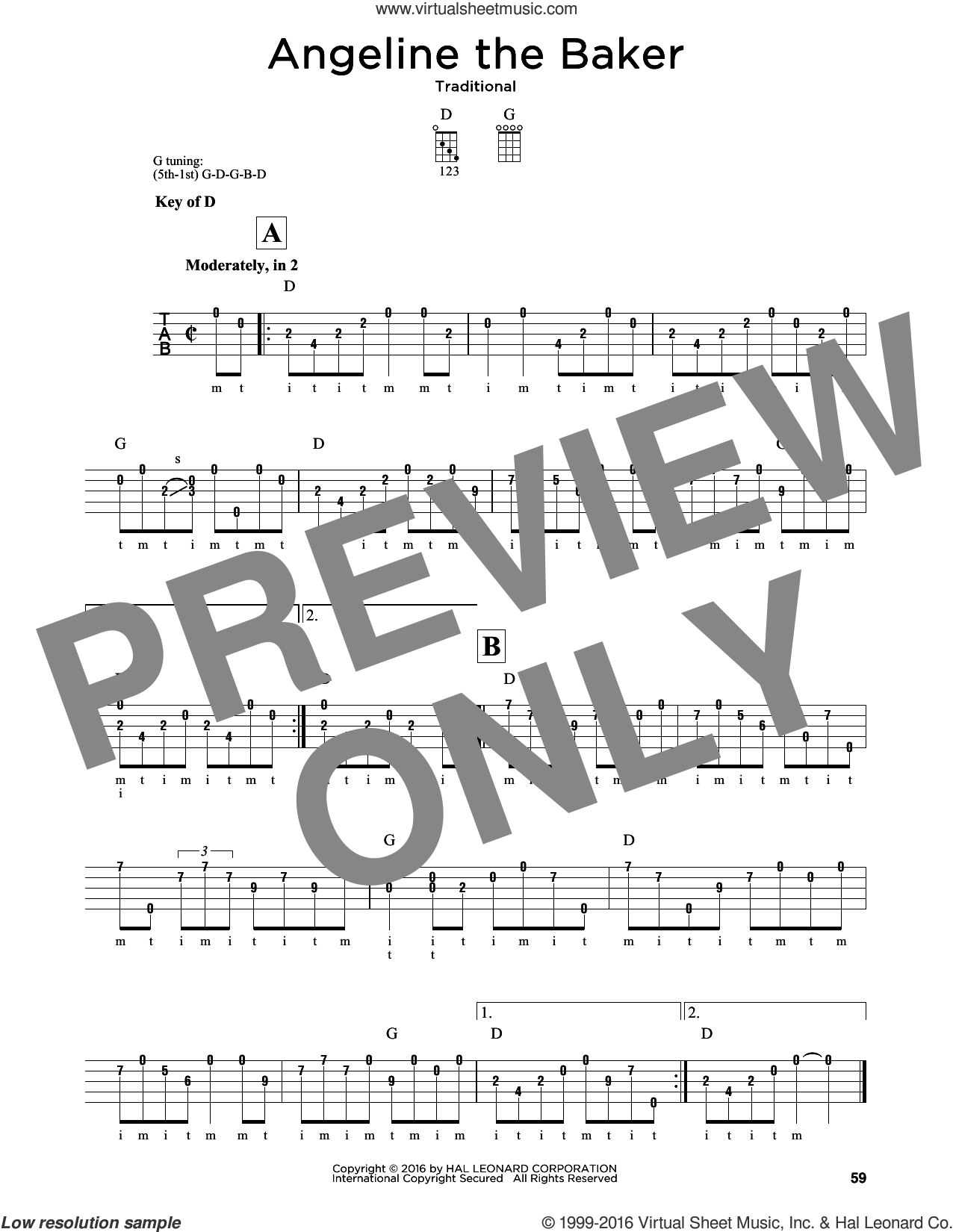 Angeline The Baker sheet music for banjo solo. Score Image Preview.
