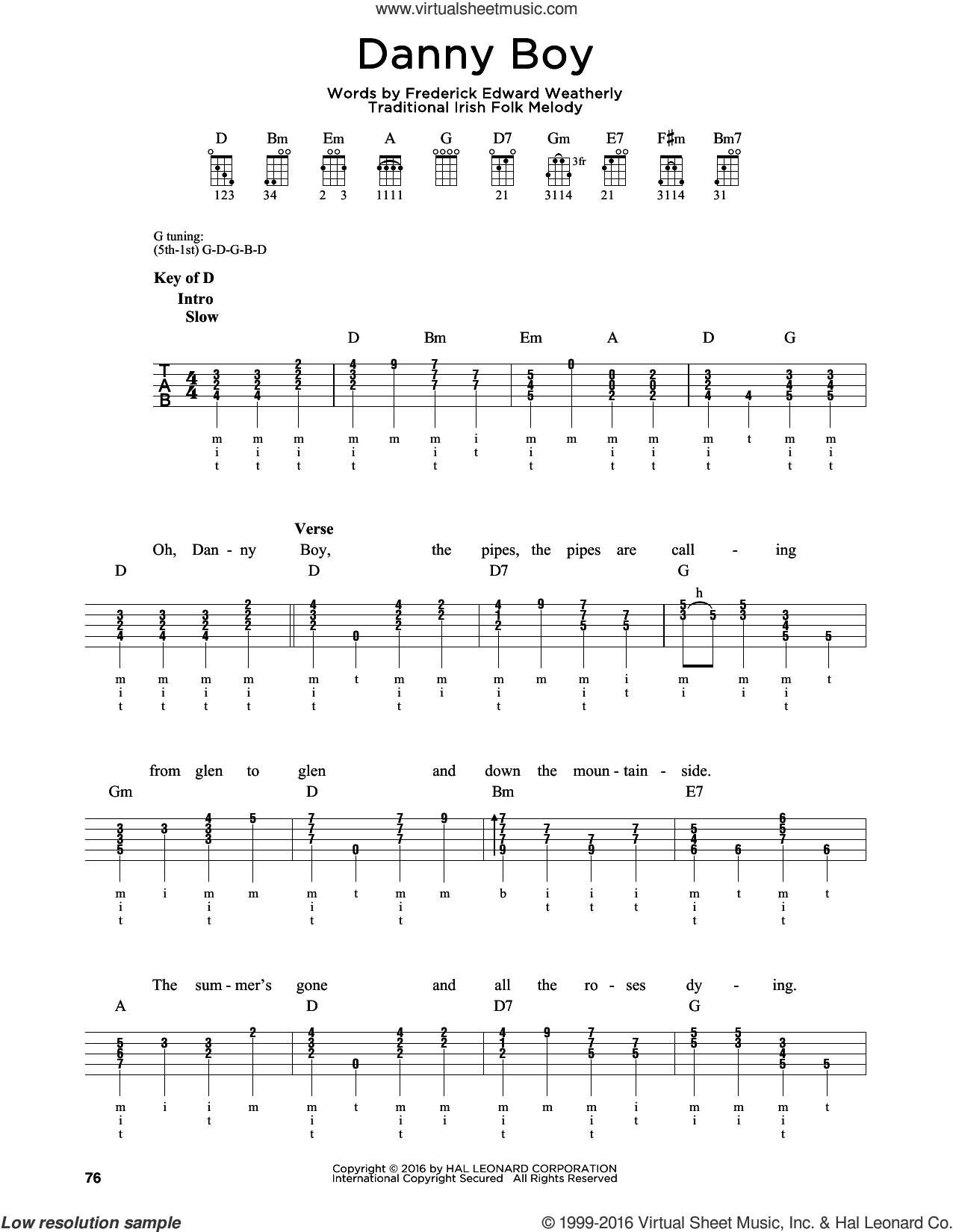 Danny Boy sheet music for banjo solo by Frederick Edward Weatherly and Traditional Irish. Score Image Preview.