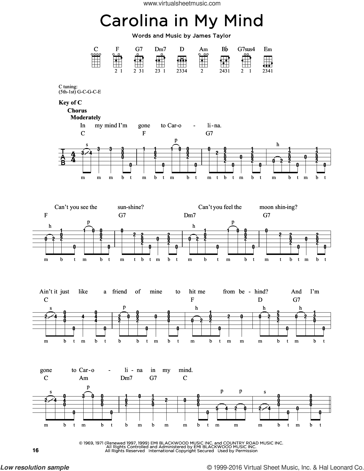Carolina In My Mind sheet music for banjo solo by James Taylor and Crystal Mansion, intermediate skill level