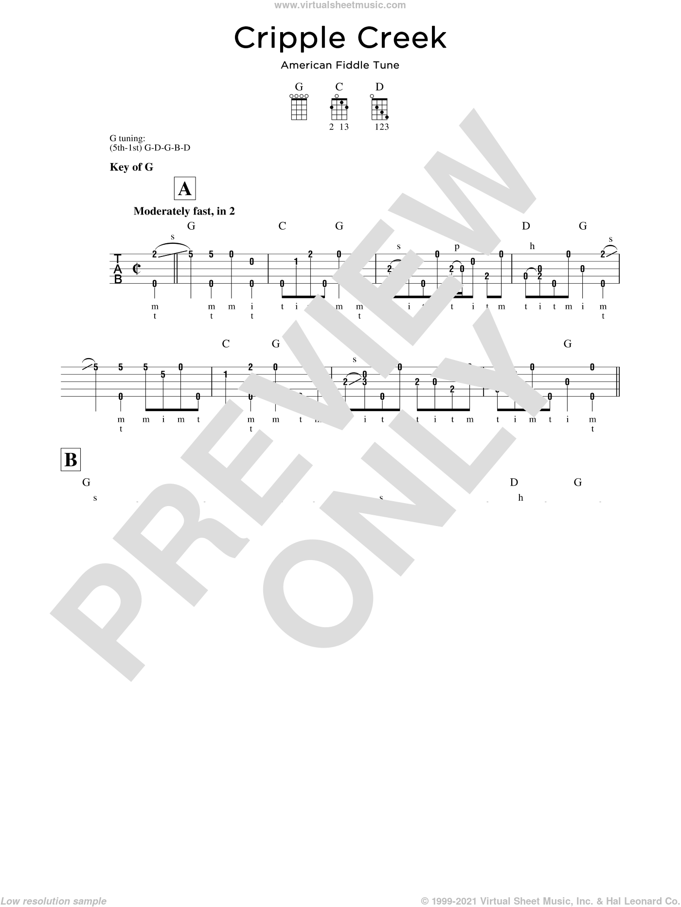 Cripple Creek sheet music for banjo solo, intermediate banjo. Score Image Preview.