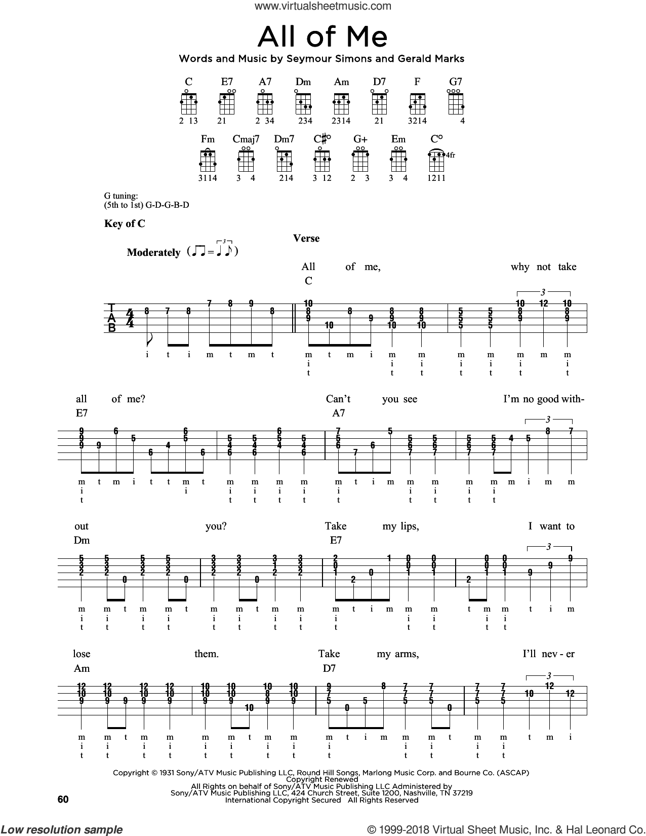 All Of Me sheet music for banjo solo by Seymour Simons and Gerald Marks, wedding score, intermediate. Score Image Preview.