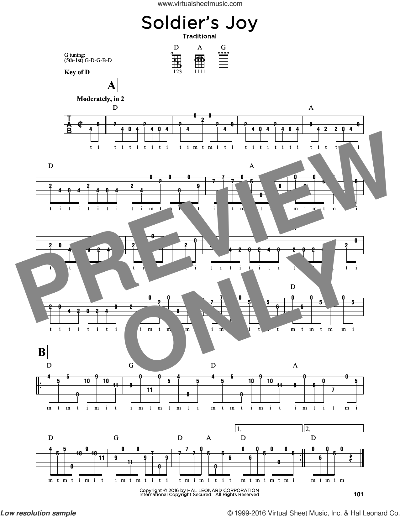 Soldier's Joy sheet music for banjo solo. Score Image Preview.