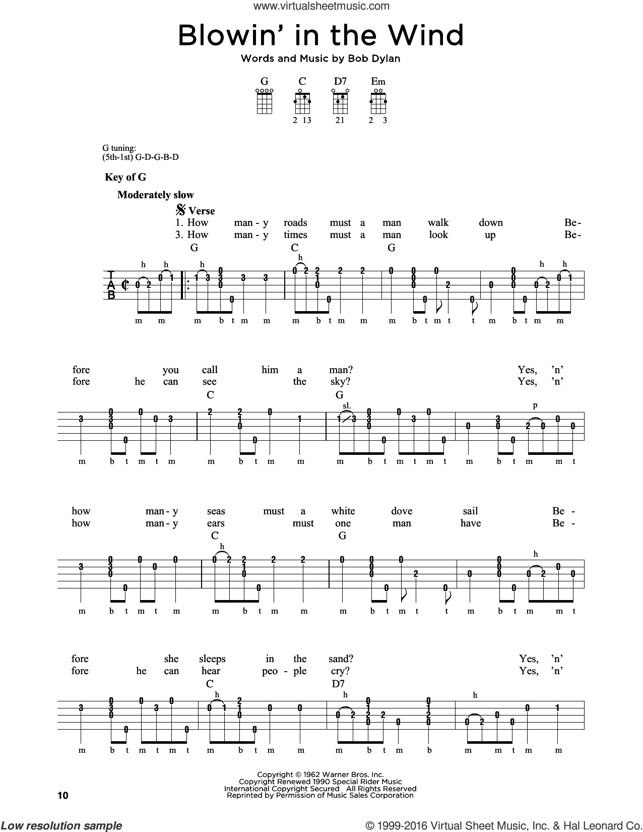 Blowin' In The Wind sheet music for banjo solo by Bob Dylan, Peter, Paul & Mary and Stevie Wonder, intermediate skill level