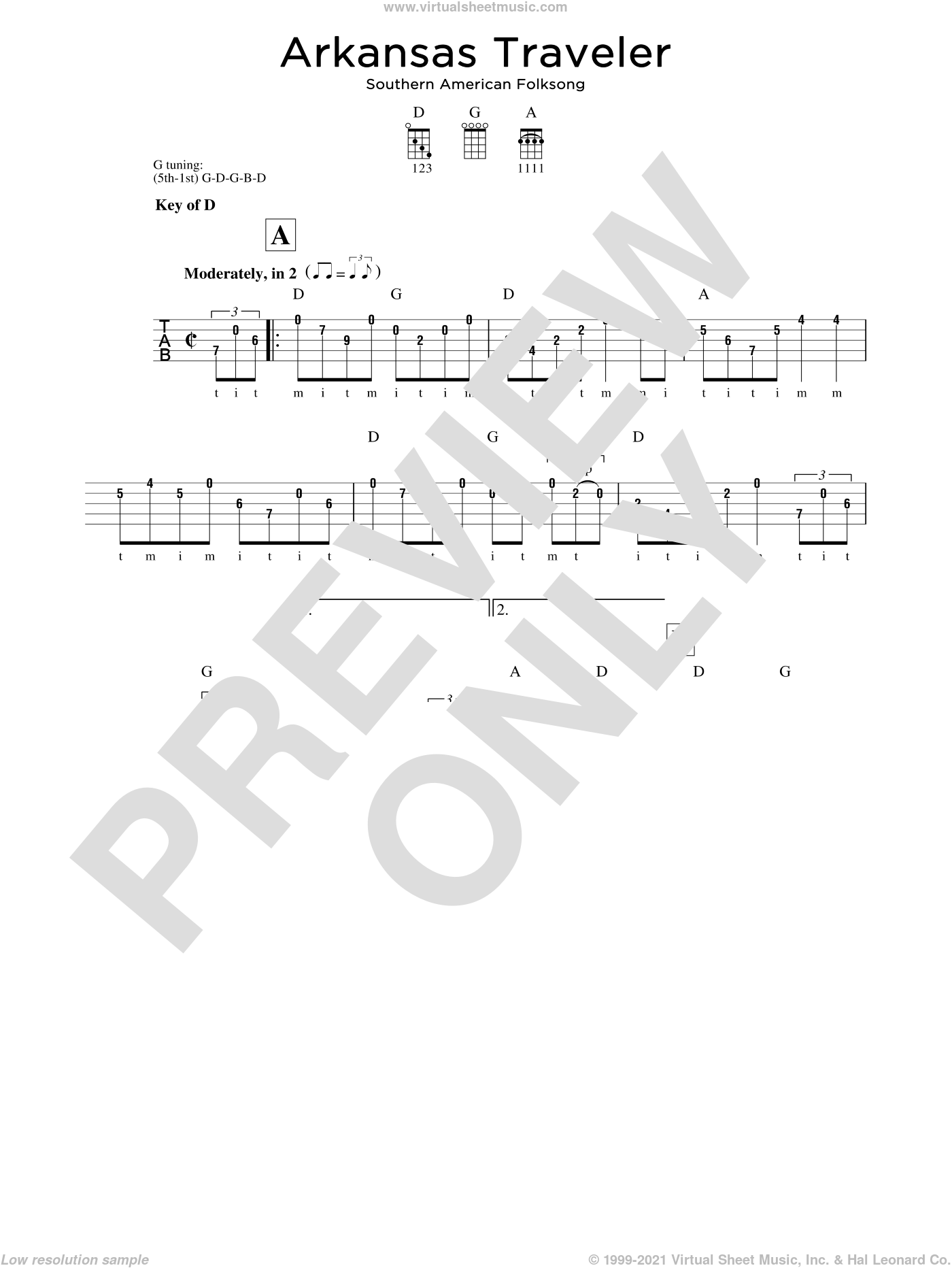 Arkansas Traveler sheet music for banjo solo, intermediate
