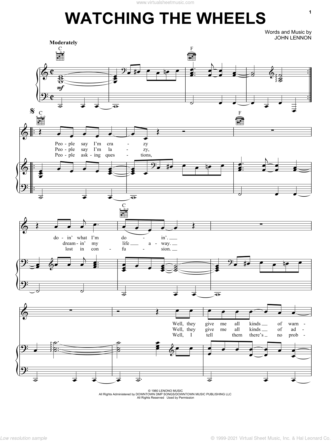 Watching The Wheels sheet music for voice, piano or guitar by John Lennon, intermediate. Score Image Preview.
