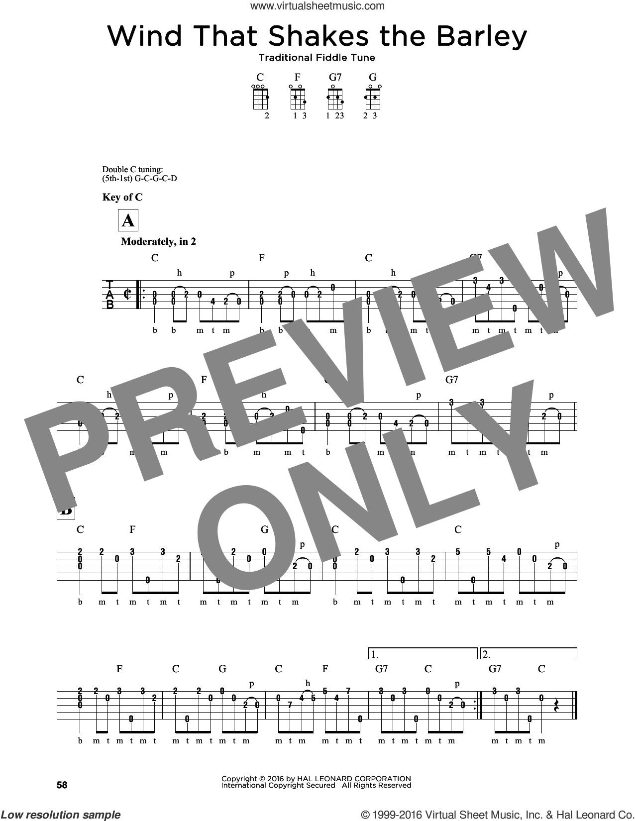 The Wind That Shakes The Barley sheet music for banjo solo by Traditional Fiddle Tune, intermediate. Score Image Preview.