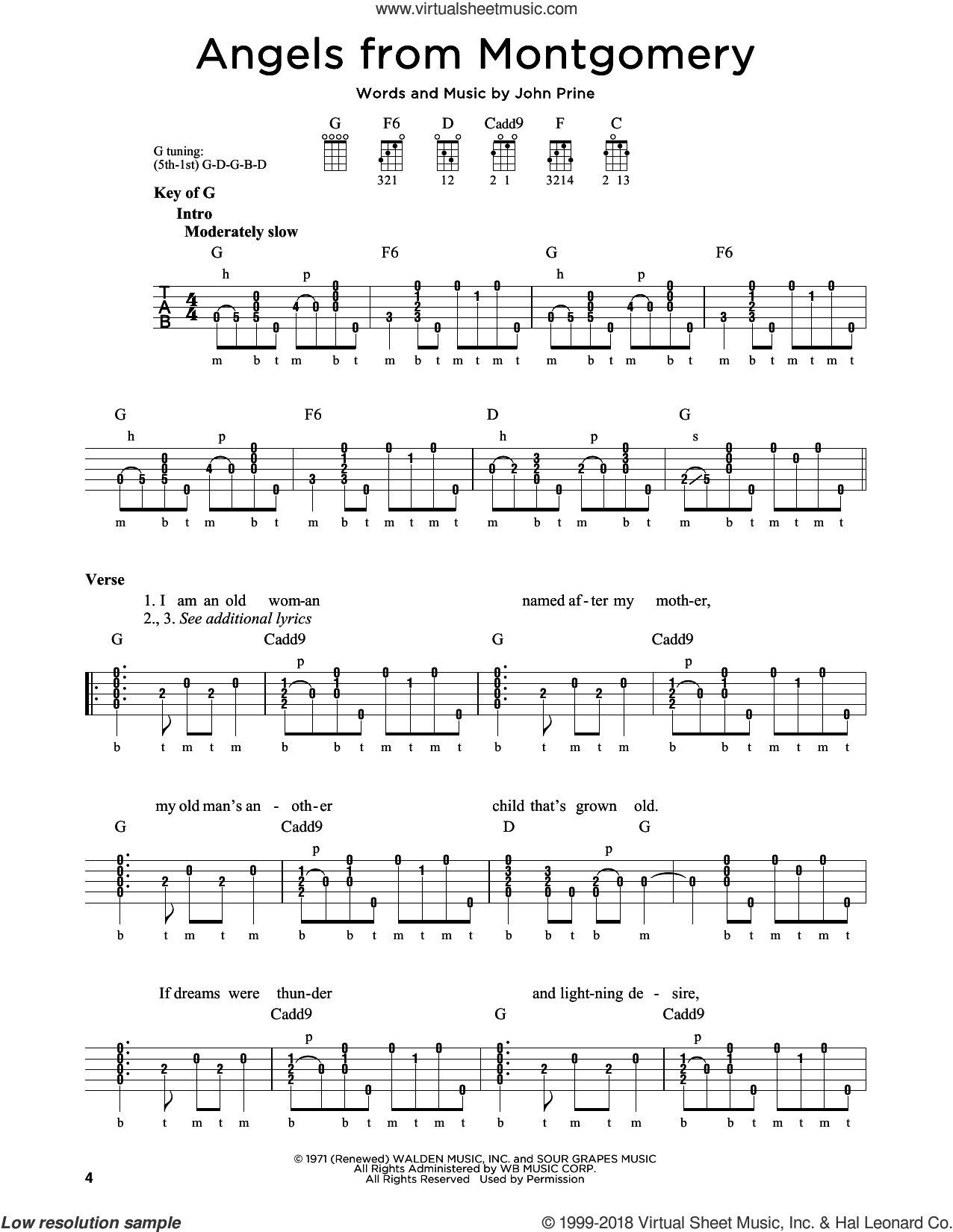 Angels From Montgomery sheet music for banjo solo by John Prine and Bonnie Raitt, intermediate skill level