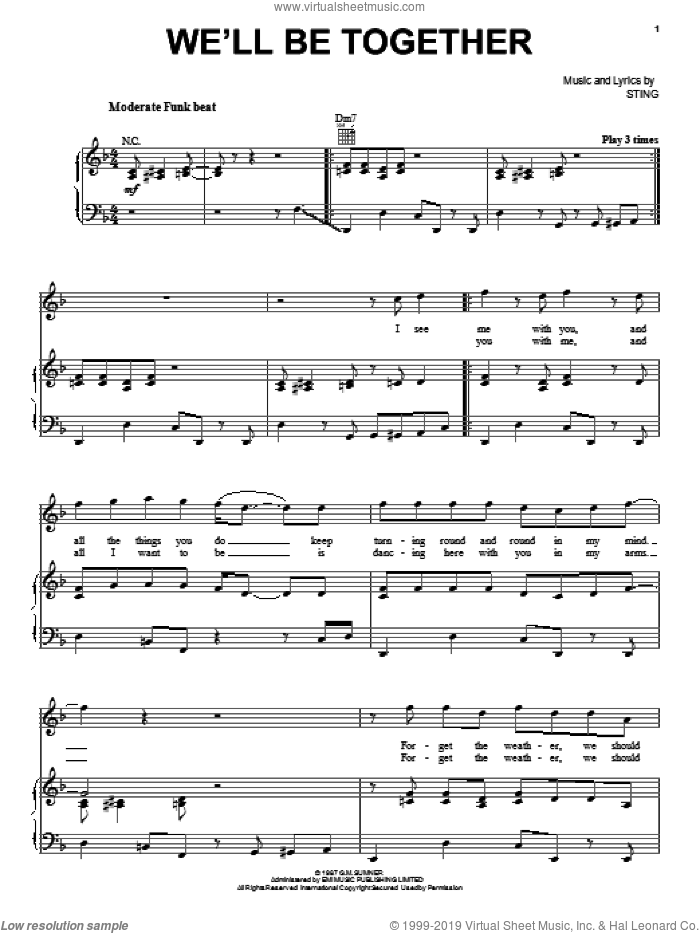 We'll Be Together sheet music for voice, piano or guitar by Sting, intermediate skill level