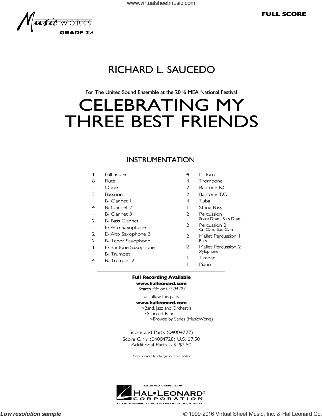 Celebrating My Three Best Friends sheet music for concert band (full score) by Richard L. Saucedo. Score Image Preview.