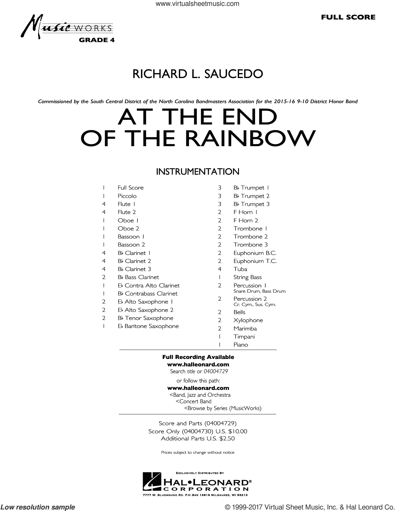 At the End of the Rainbow (COMPLETE) sheet music for concert band by Richard L. Saucedo, intermediate concert band. Score Image Preview.