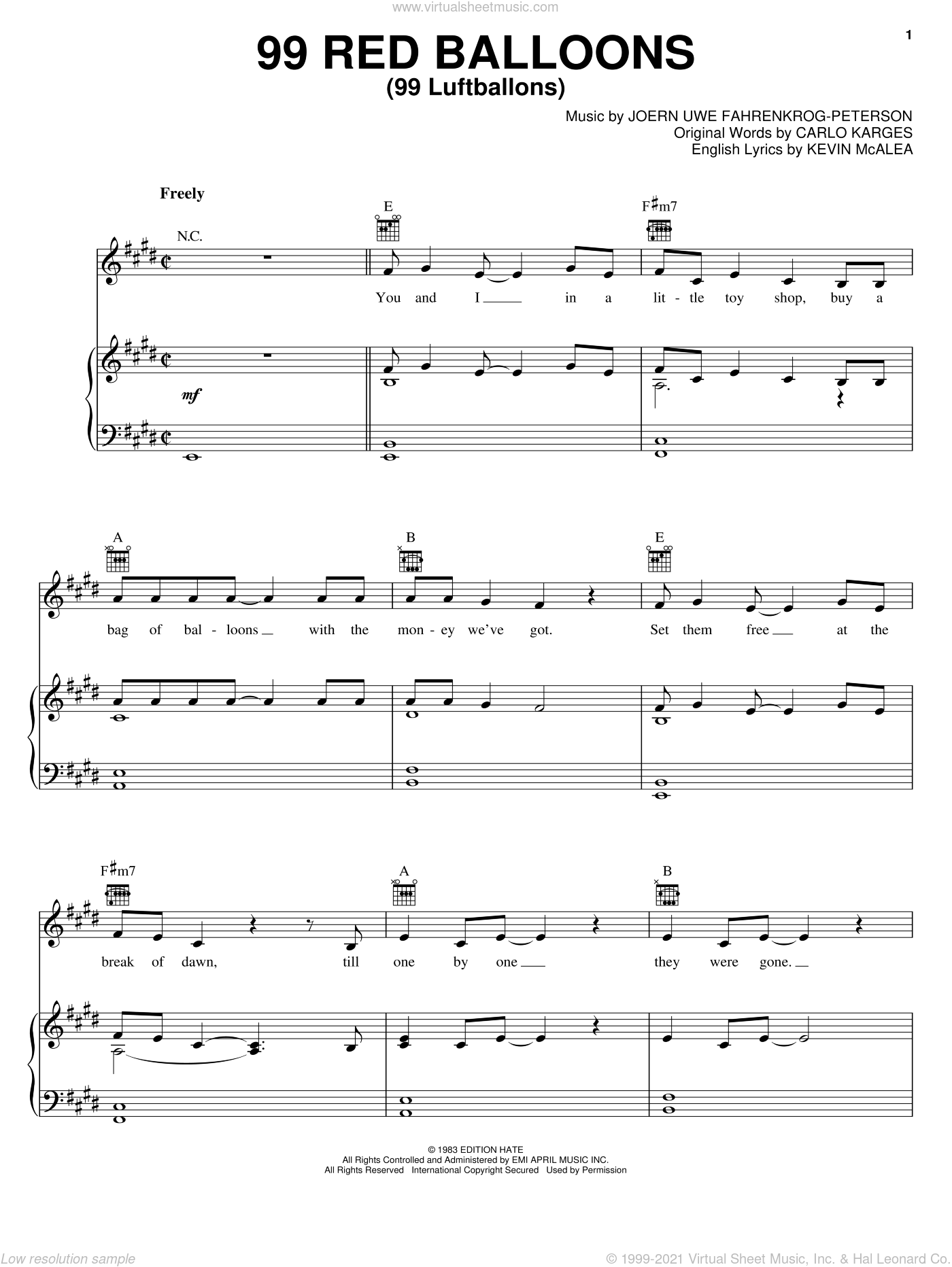 99 Red Balloons (99 Luftballons) sheet music for voice, piano or guitar by Nena, Carlo Karges, Joern Uwe Fahrenkrog-Peterson and Kevin McAlea, intermediate skill level