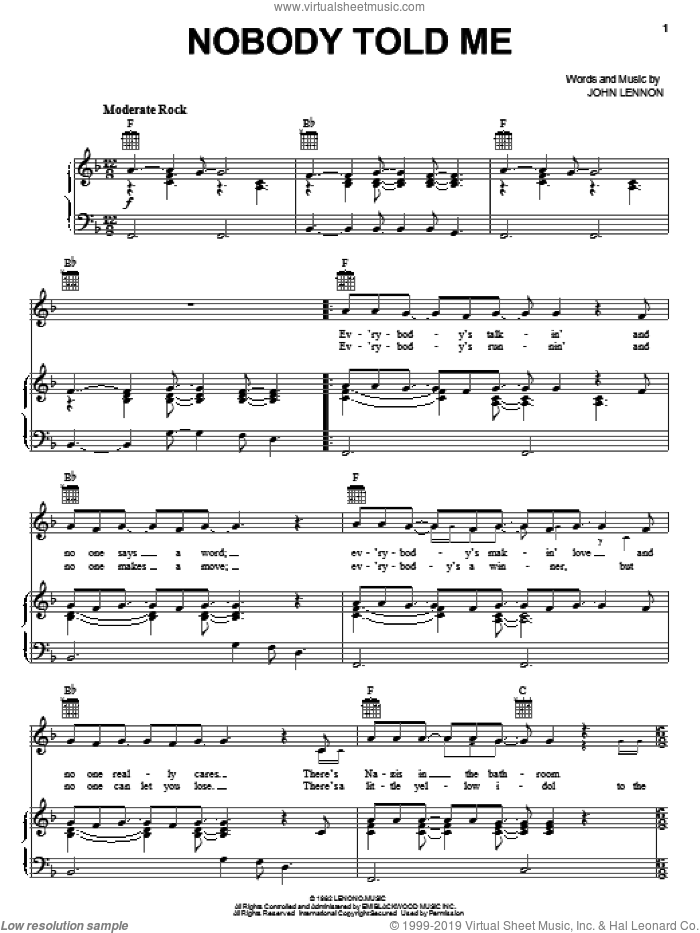 Nobody Told Me sheet music for voice, piano or guitar by John Lennon, intermediate. Score Image Preview.