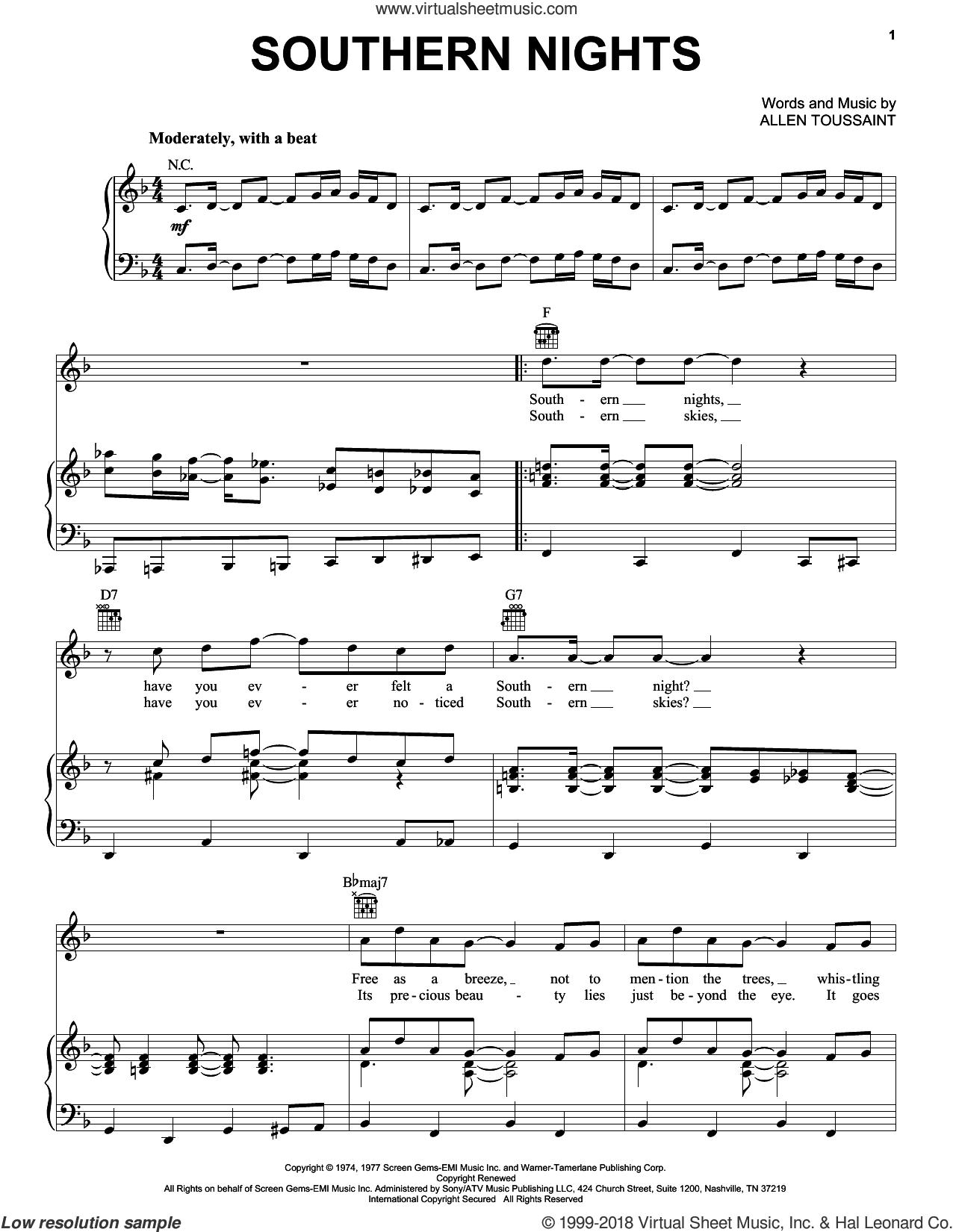Southern Nights sheet music for voice, piano or guitar by Glen Campbell and Allen Toussaint, intermediate. Score Image Preview.