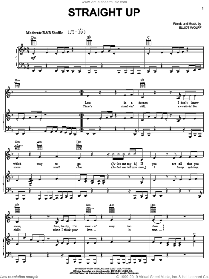 Straight Up sheet music for voice, piano or guitar by Elliot Wolff and Paula Abdul. Score Image Preview.