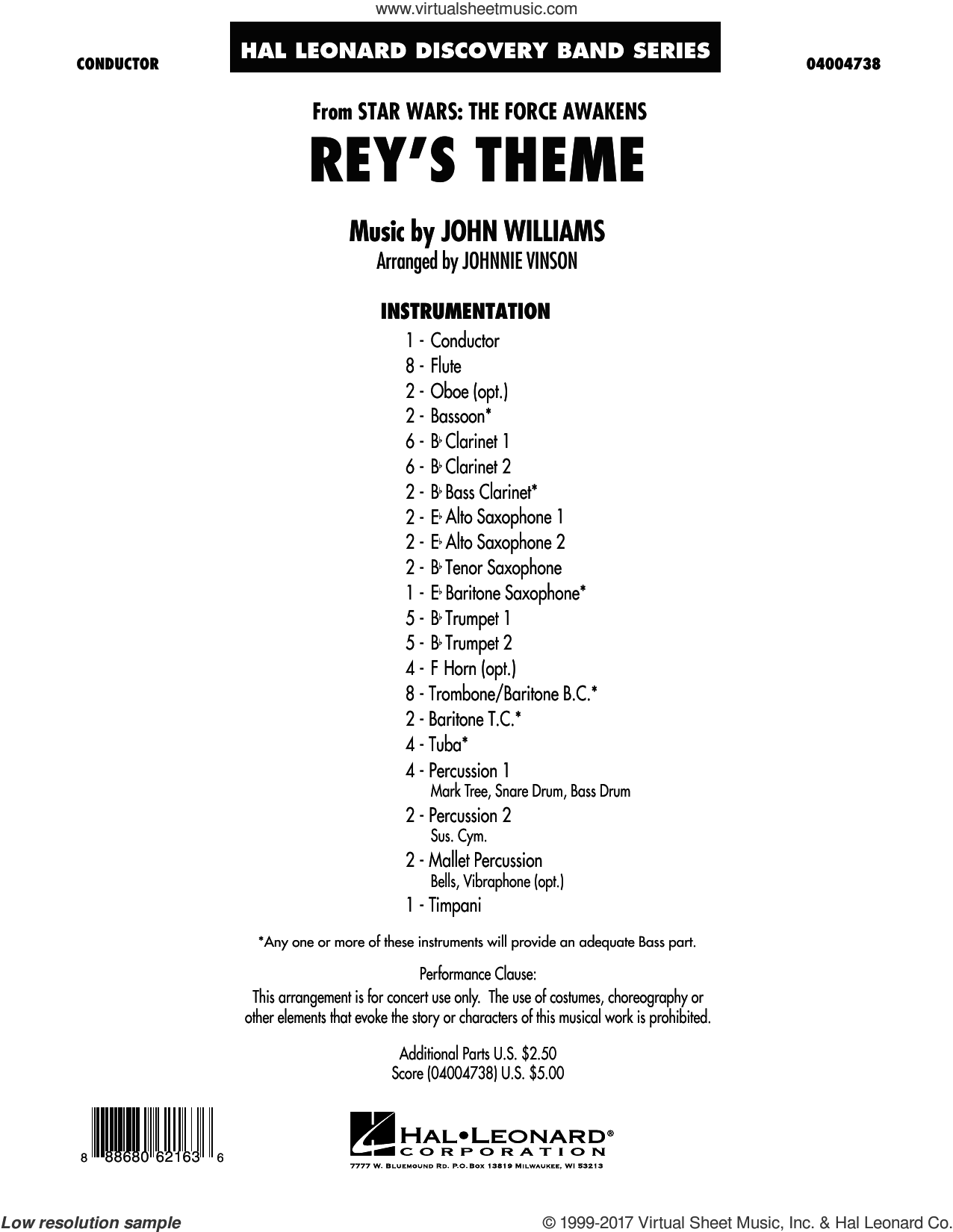 Williams - Rey's Theme (from Star Wars: The Force Awakens) sheet music  (complete collection) for concert band