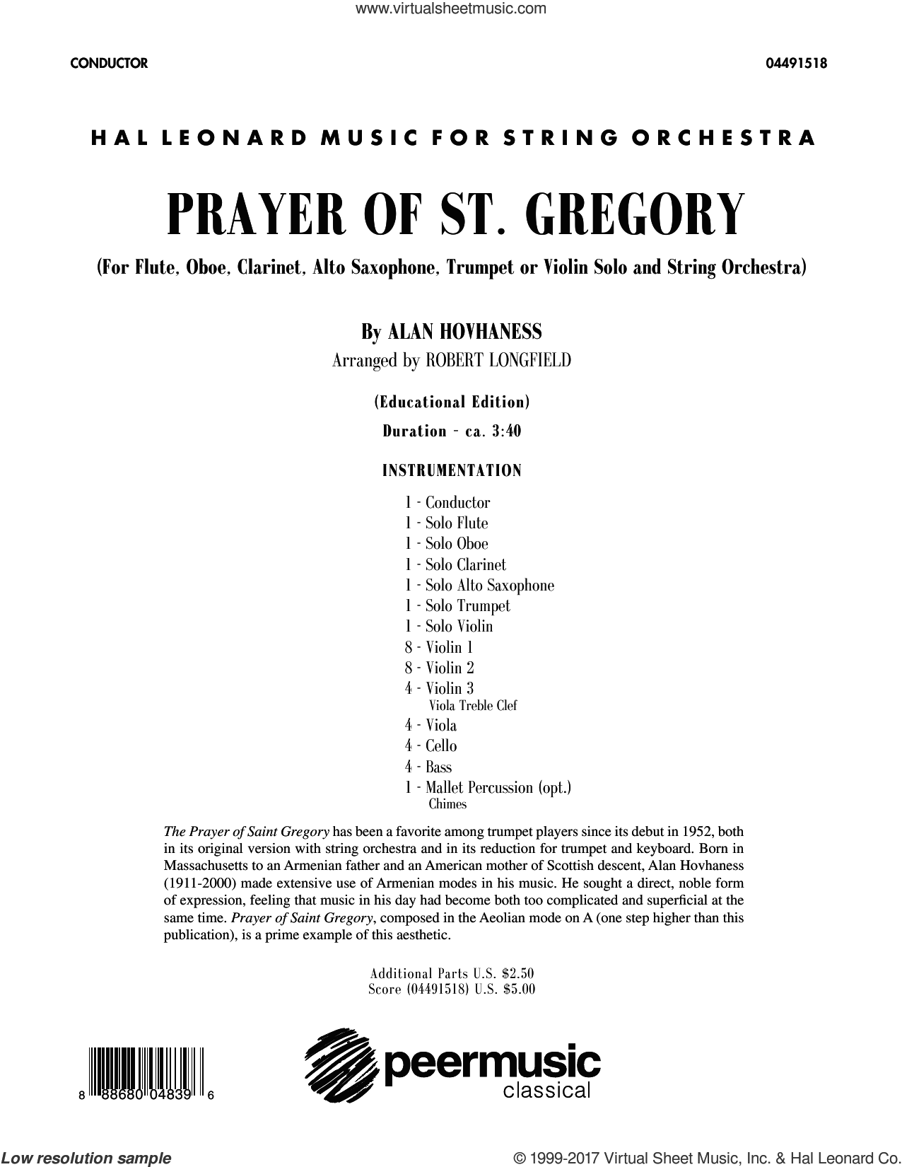 Prayer of St. Gregory (Educational Edition) (COMPLETE) sheet music for orchestra by Robert Longfield and Alan Hovhaness, classical score, intermediate skill level