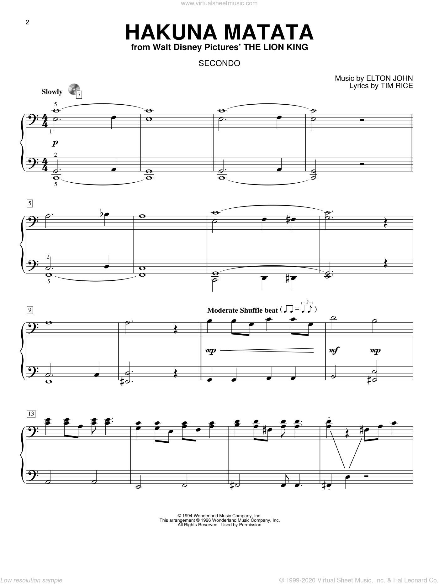 Hakuna Matata sheet music for piano four hands (duets) by Tim Rice and Elton John. Score Image Preview.