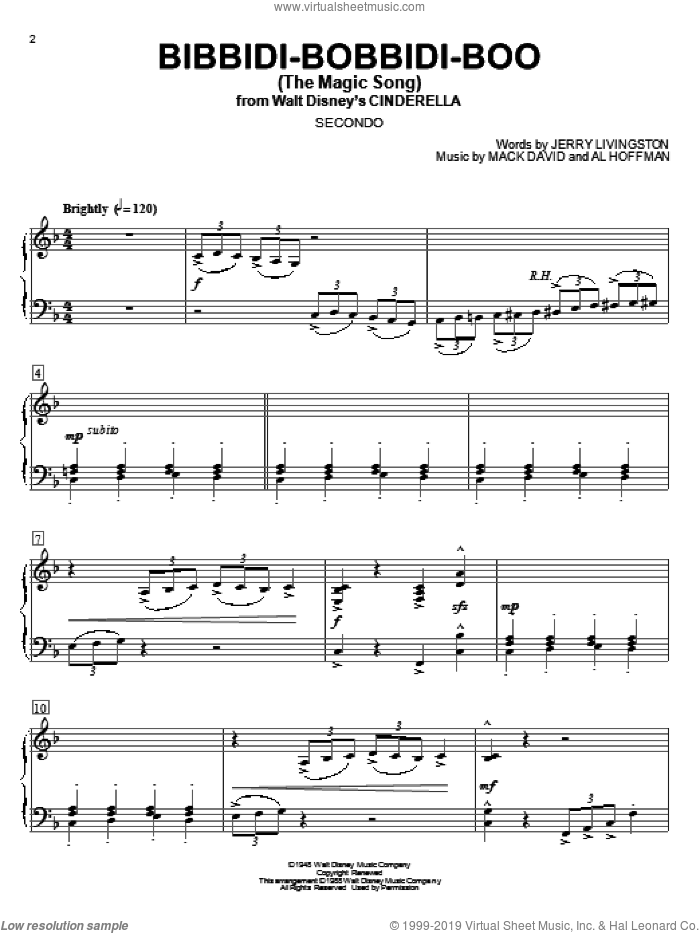 Bibbidi-Bobbidi-Boo (The Magic Song) sheet music for piano four hands (duets) by Mack David, Louis Armstrong, Al Hoffman and Jerry Livingston. Score Image Preview.