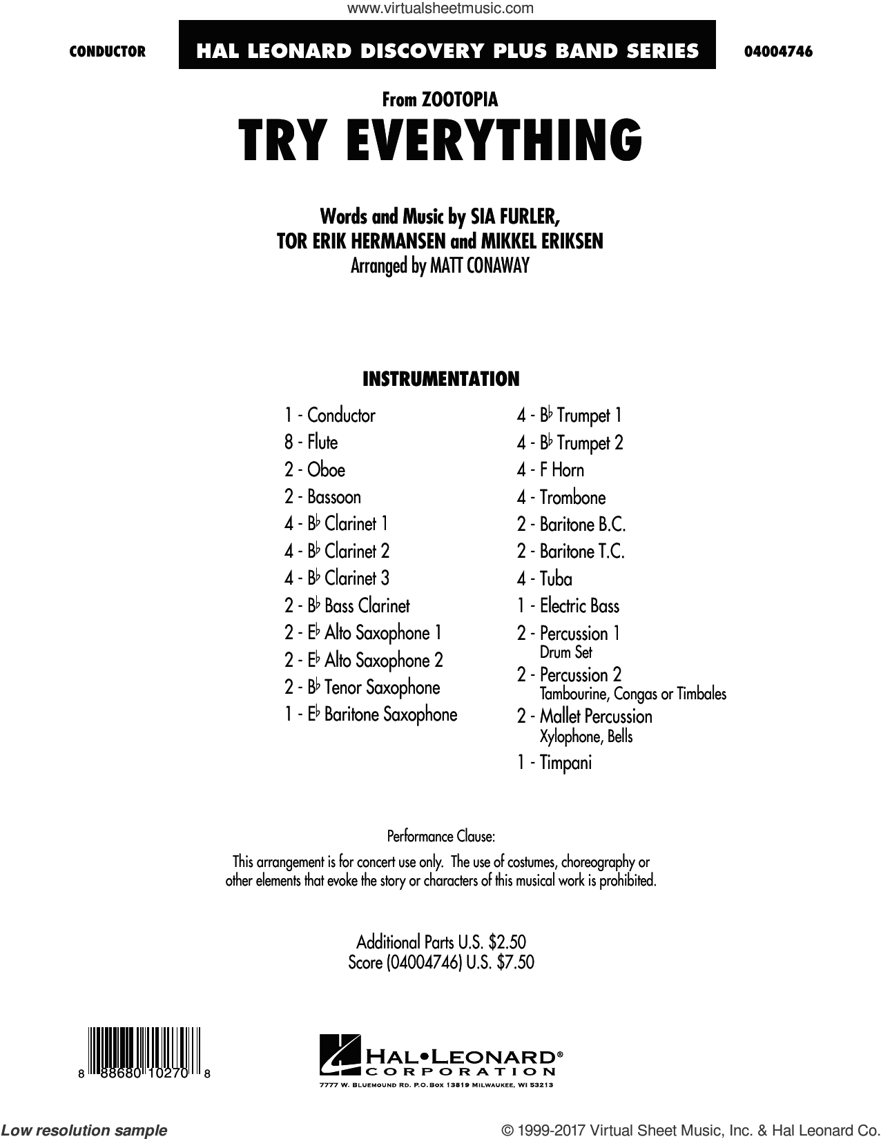 Try Everything (from Zootopia) (COMPLETE) sheet music for concert band by Matt Conaway, Mikkel Eriksen, Shakira, Sia Furler and Tor Erik Hermansen, intermediate skill level