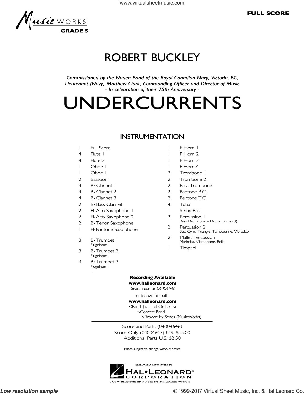 Undercurrents (COMPLETE) sheet music for concert band by Robert Buckley, intermediate skill level